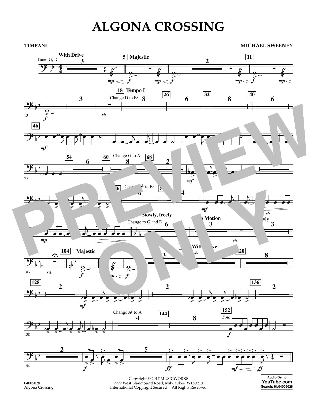 Algona Crossing - Timpani Sheet Music