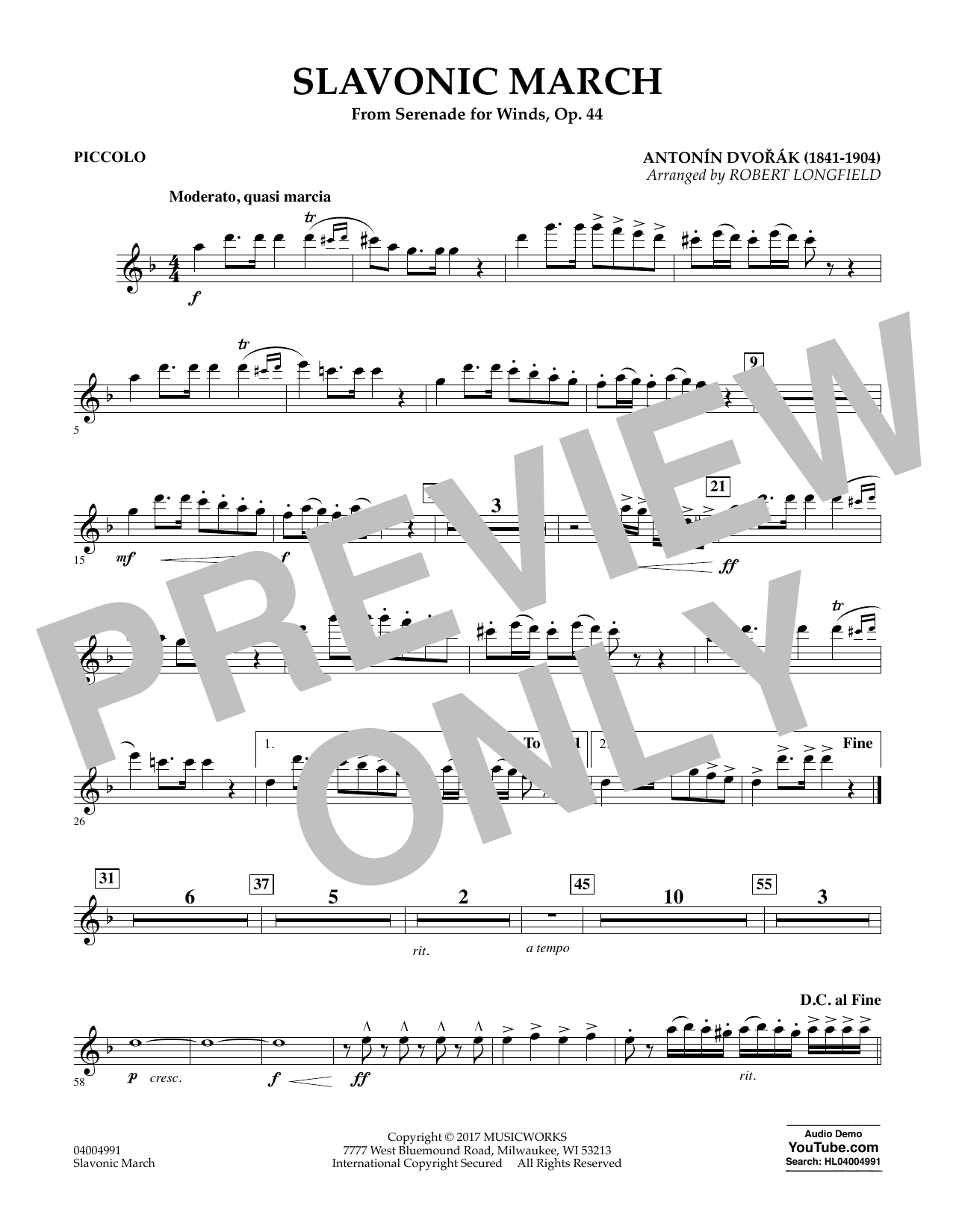 Slavonic March (from Serenade for Winds, Op. 44) - Piccolo Sheet Music