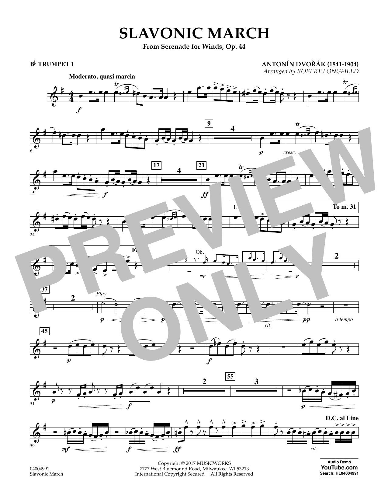 Slavonic March (from Serenade for Winds, Op. 44) - Bb Trumpet 1 Sheet Music