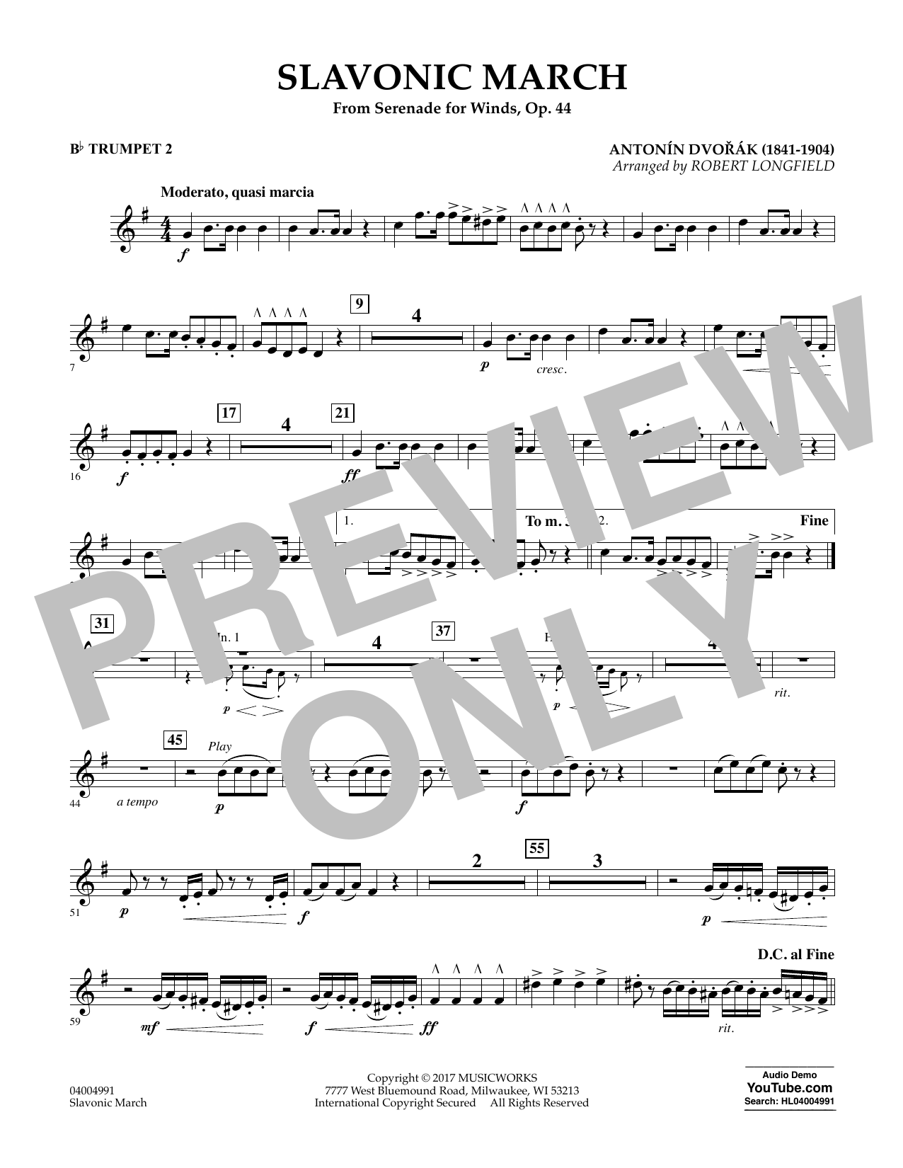 Slavonic March (from Serenade for Winds, Op. 44) - Bb Trumpet 2 Sheet Music