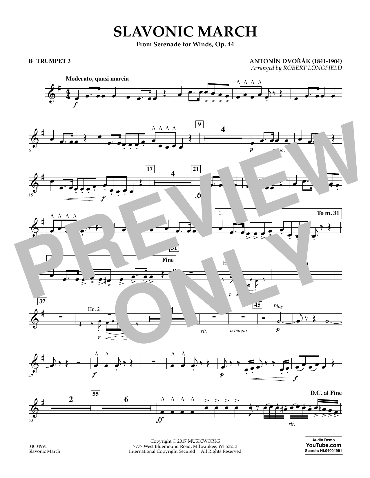 Slavonic March (from Serenade for Winds, Op. 44) - Bb Trumpet 3 Digitale Noten