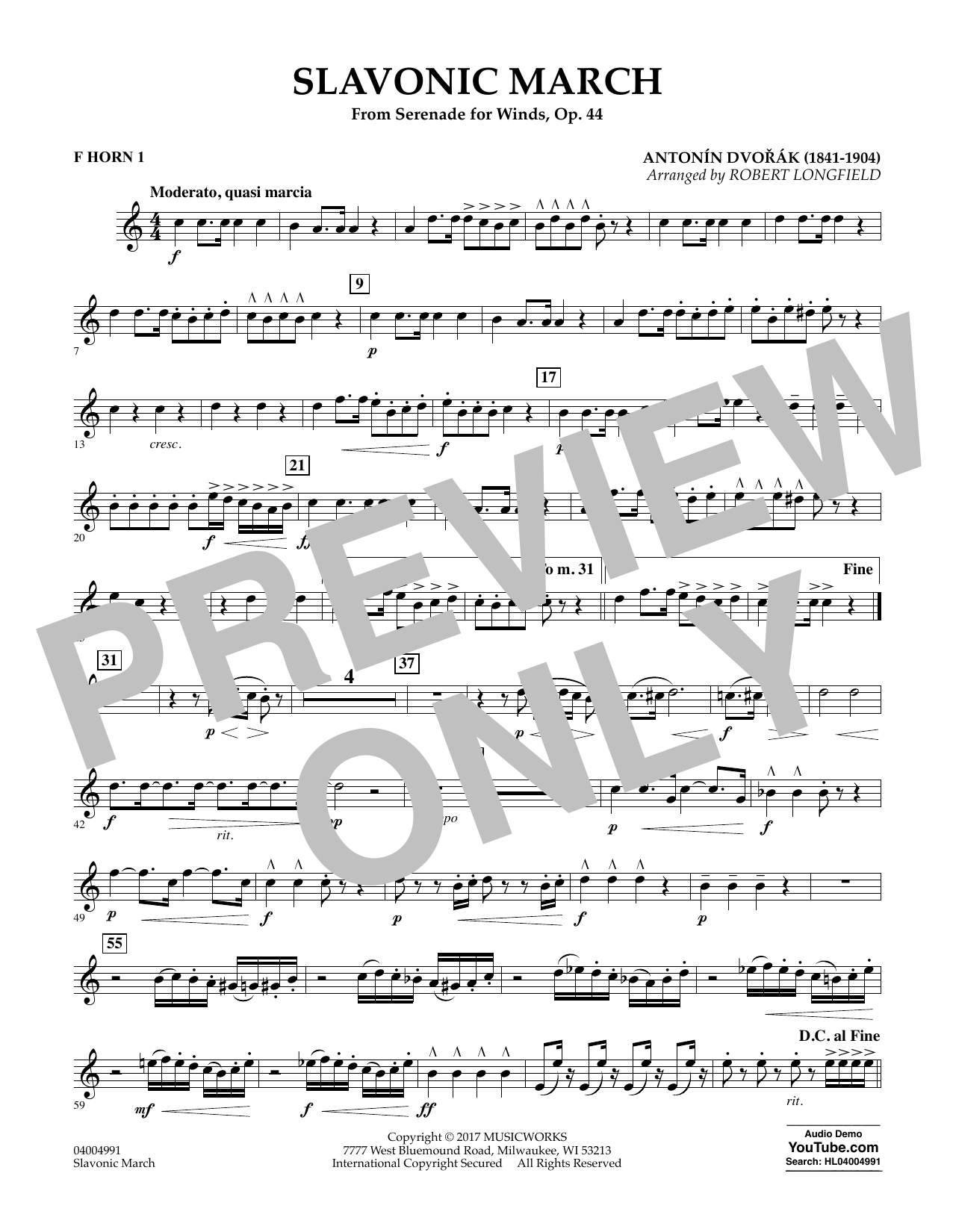 Slavonic March (from Serenade for Winds, Op. 44) - F Horn 1 Sheet Music