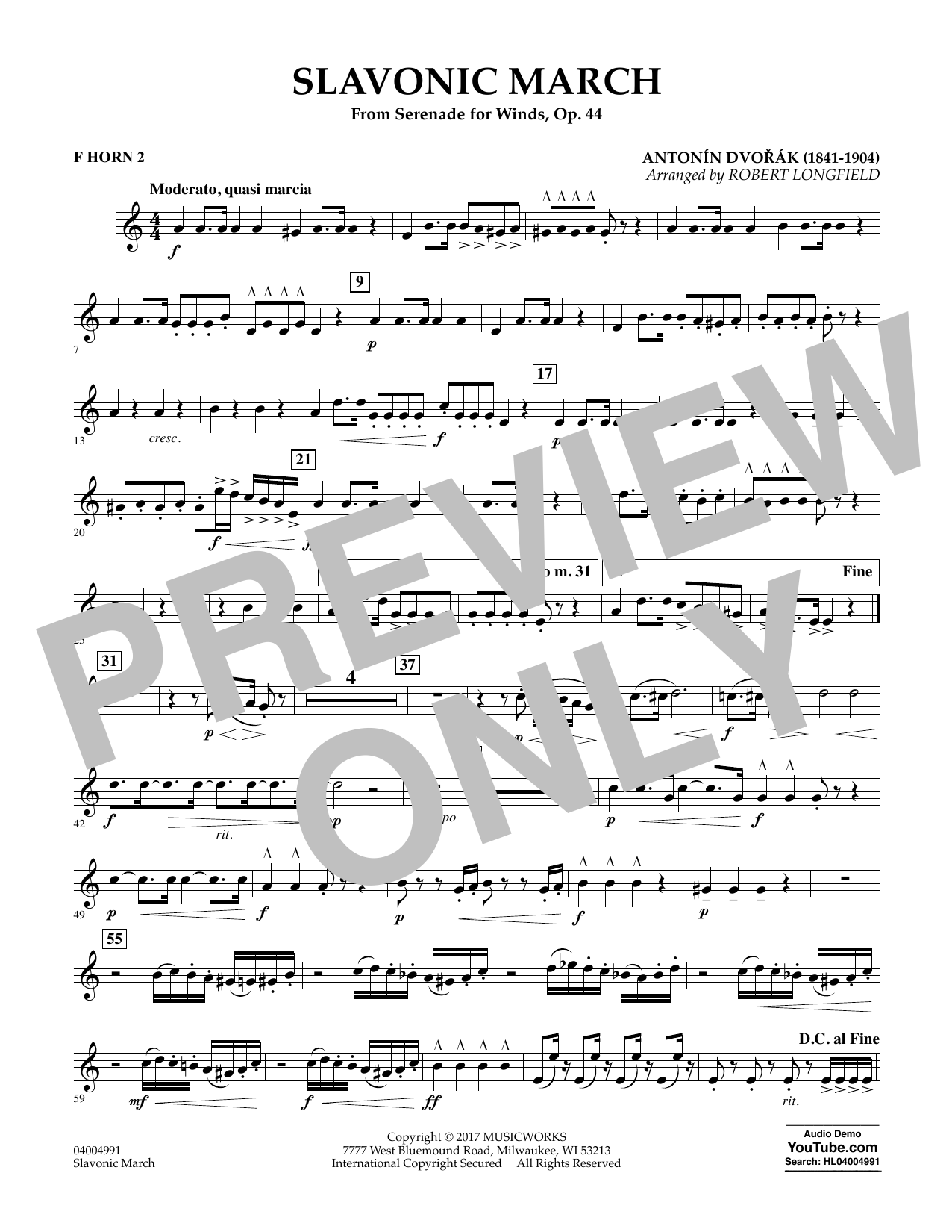 Slavonic March (from Serenade for Winds, Op. 44) - F Horn 2 (Concert Band)