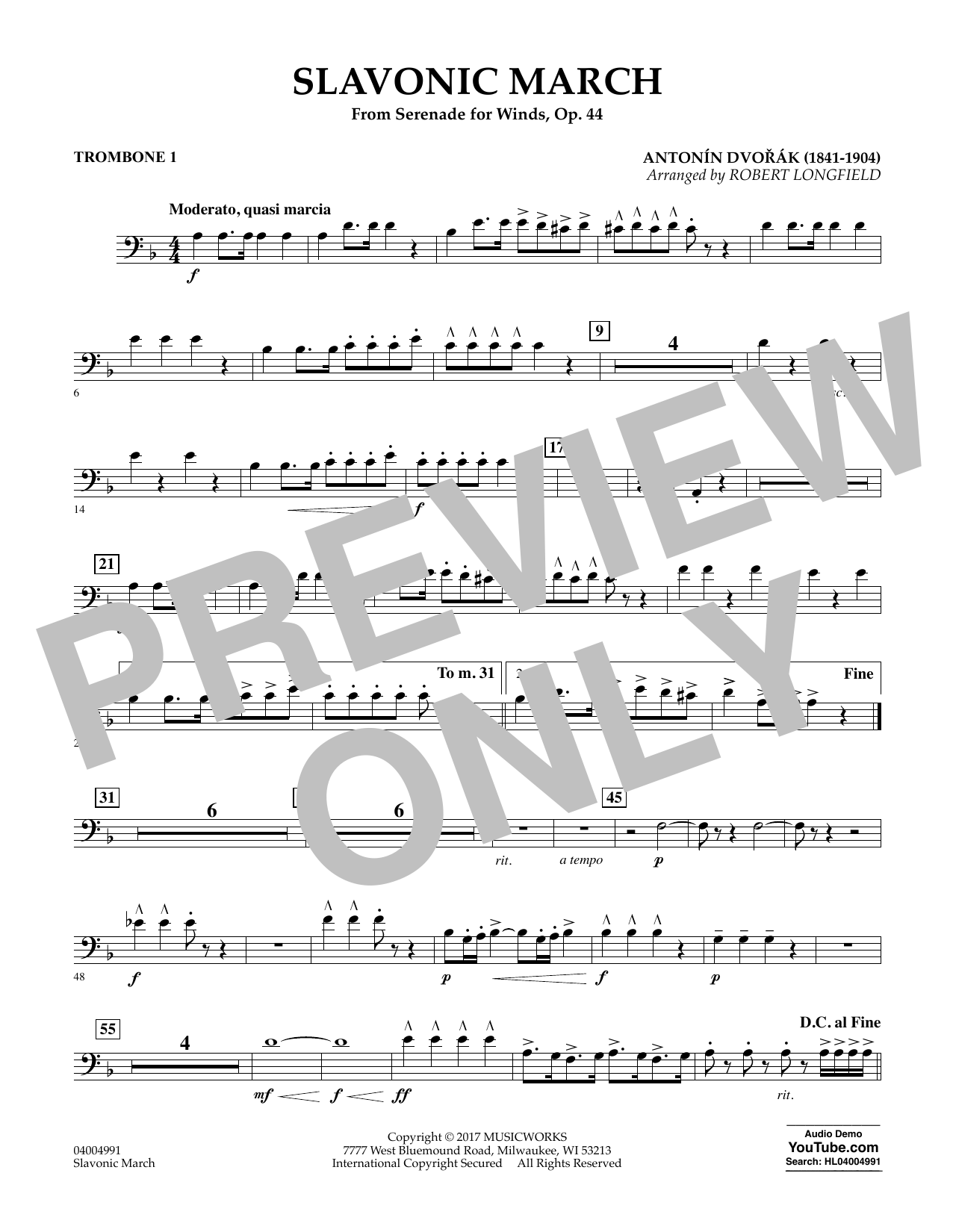 Slavonic March (from Serenade for Winds, Op. 44) - Trombone 1 Sheet Music