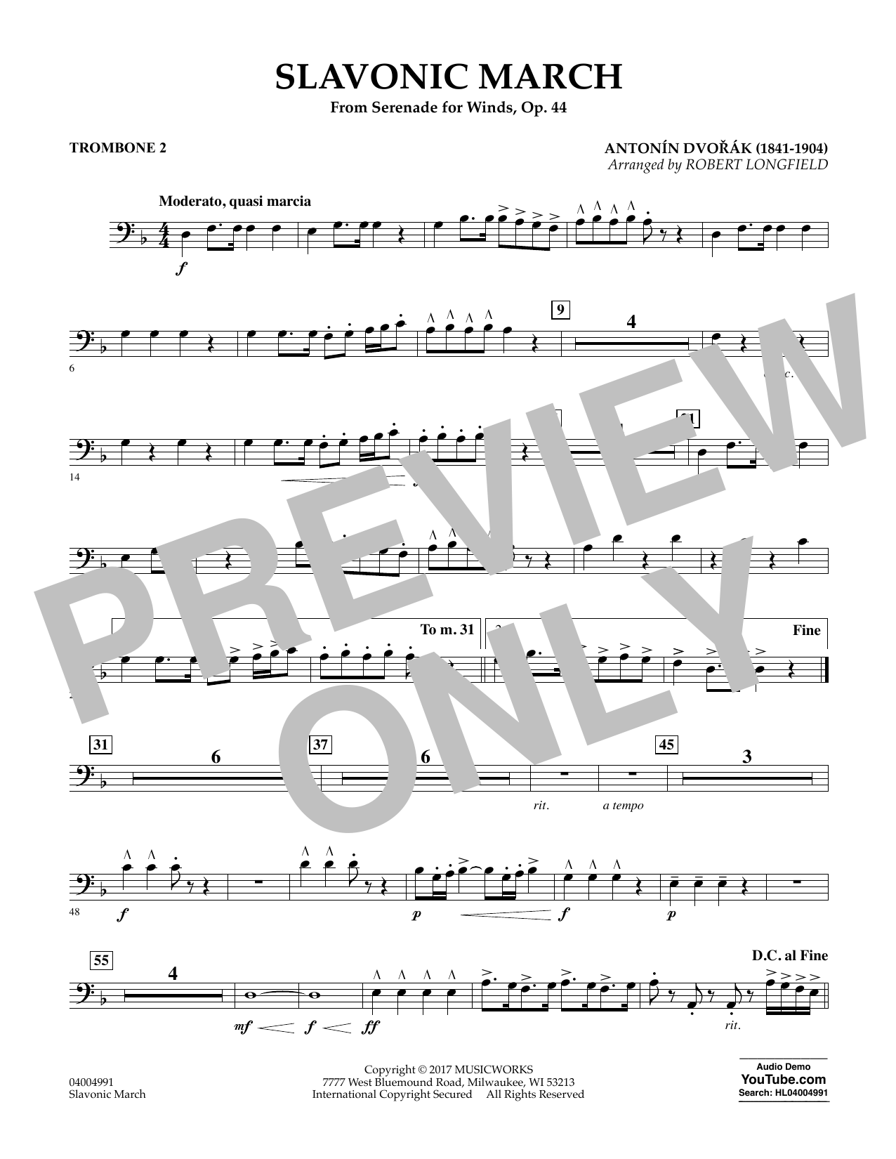 Slavonic March (from Serenade for Winds, Op. 44) - Trombone 2 Sheet Music