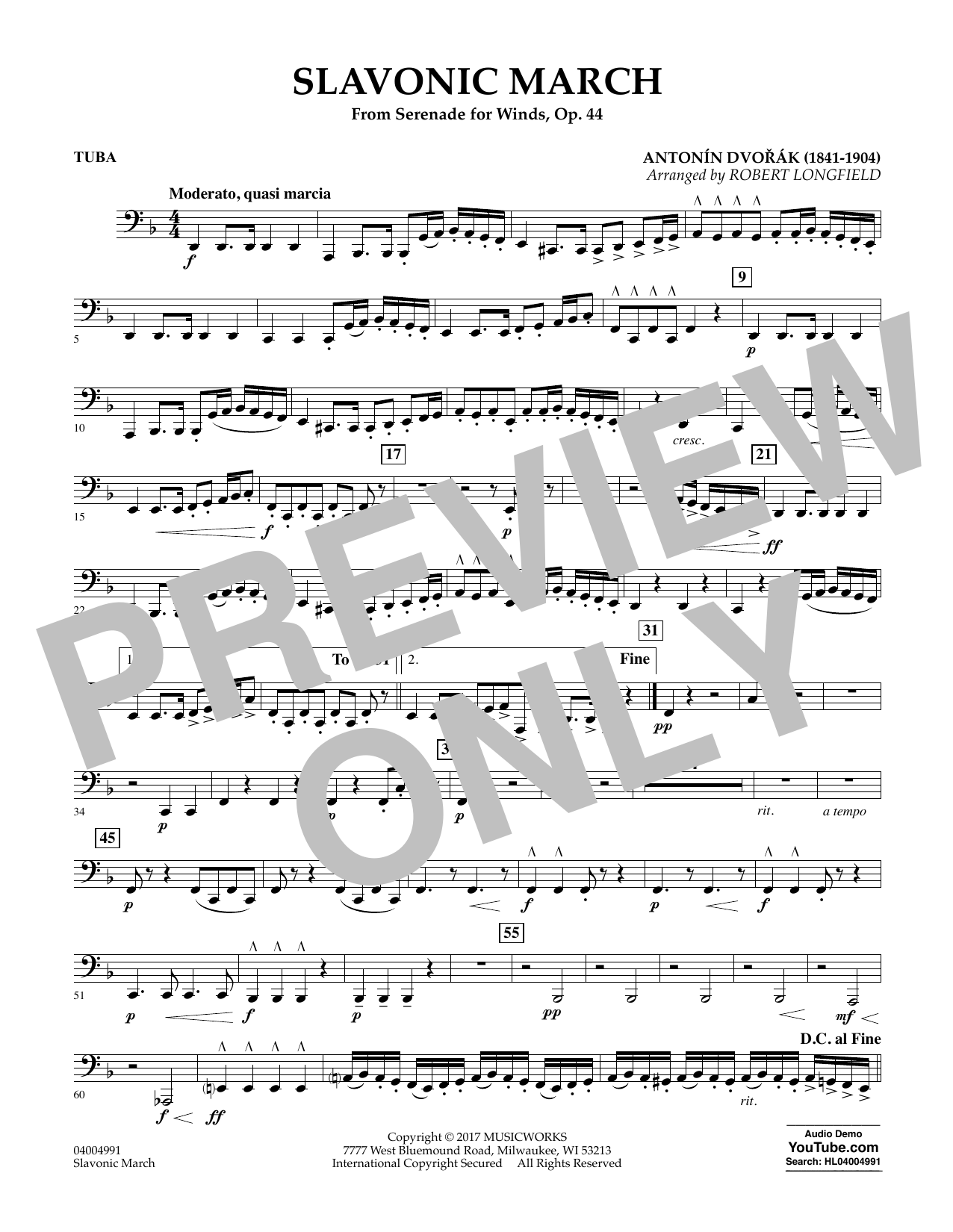 Slavonic March (from Serenade for Winds, Op. 44) - Tuba Sheet Music
