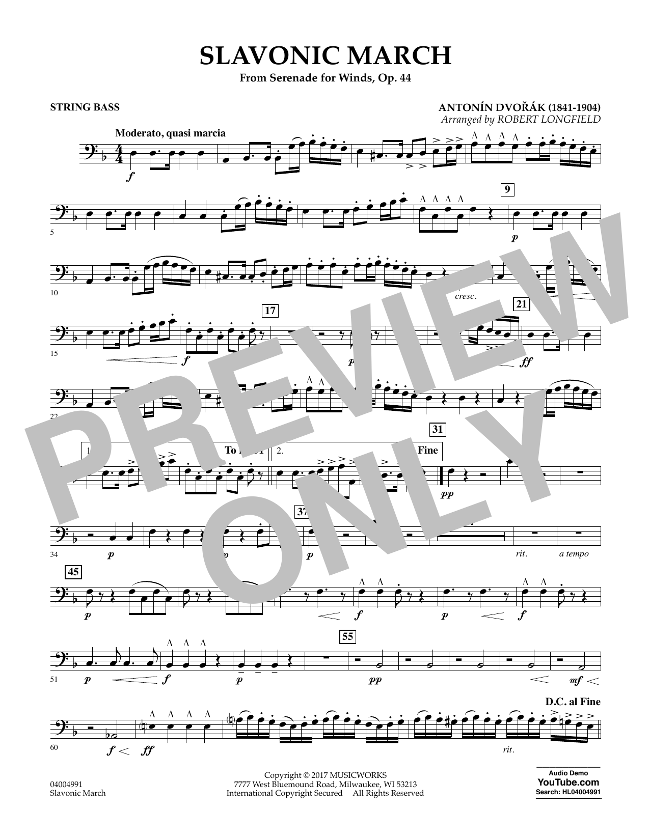 Slavonic March (from Serenade for Winds, Op. 44) - String Bass Sheet Music
