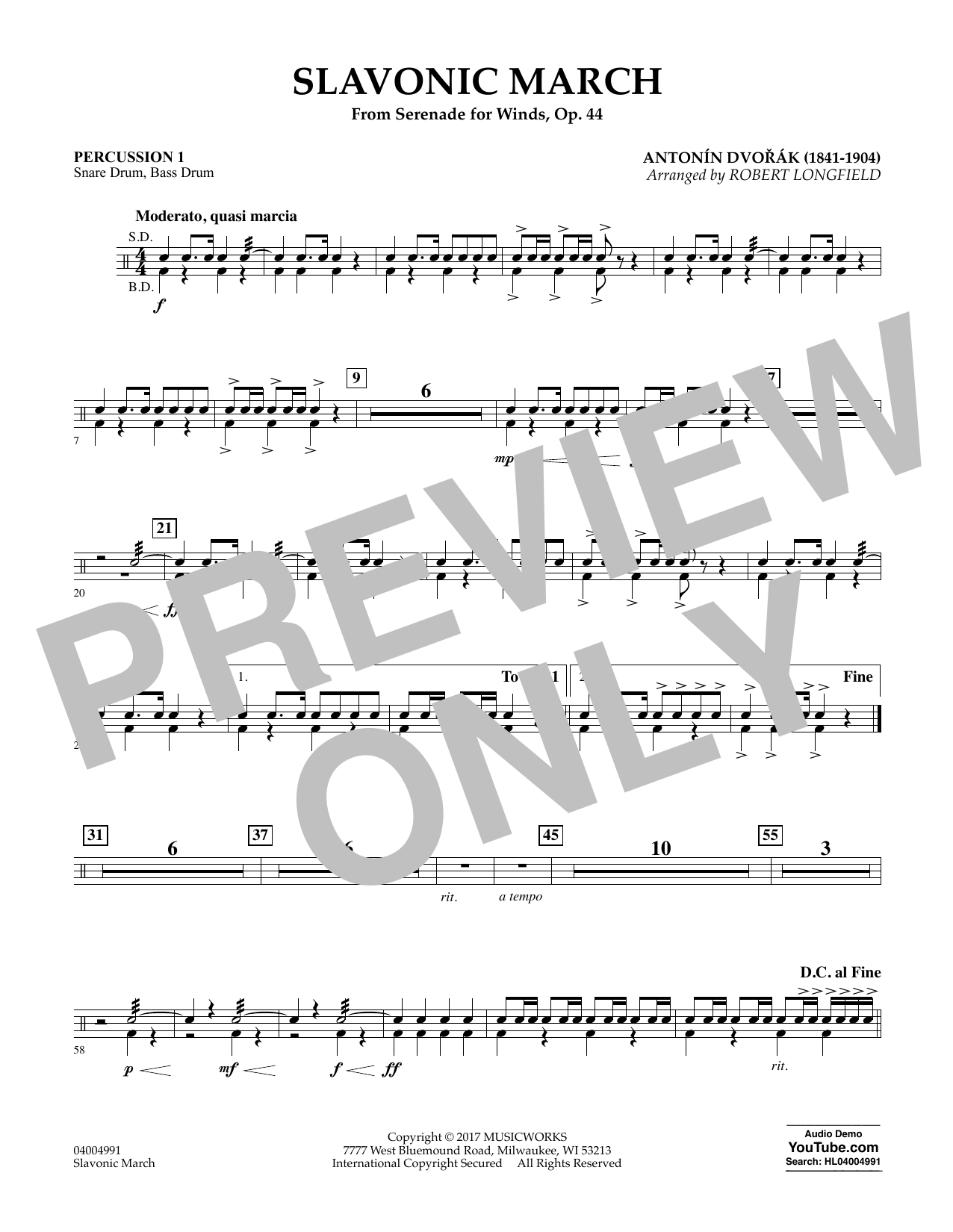 Slavonic March (from Serenade for Winds, Op. 44) - Percussion 1 Sheet Music