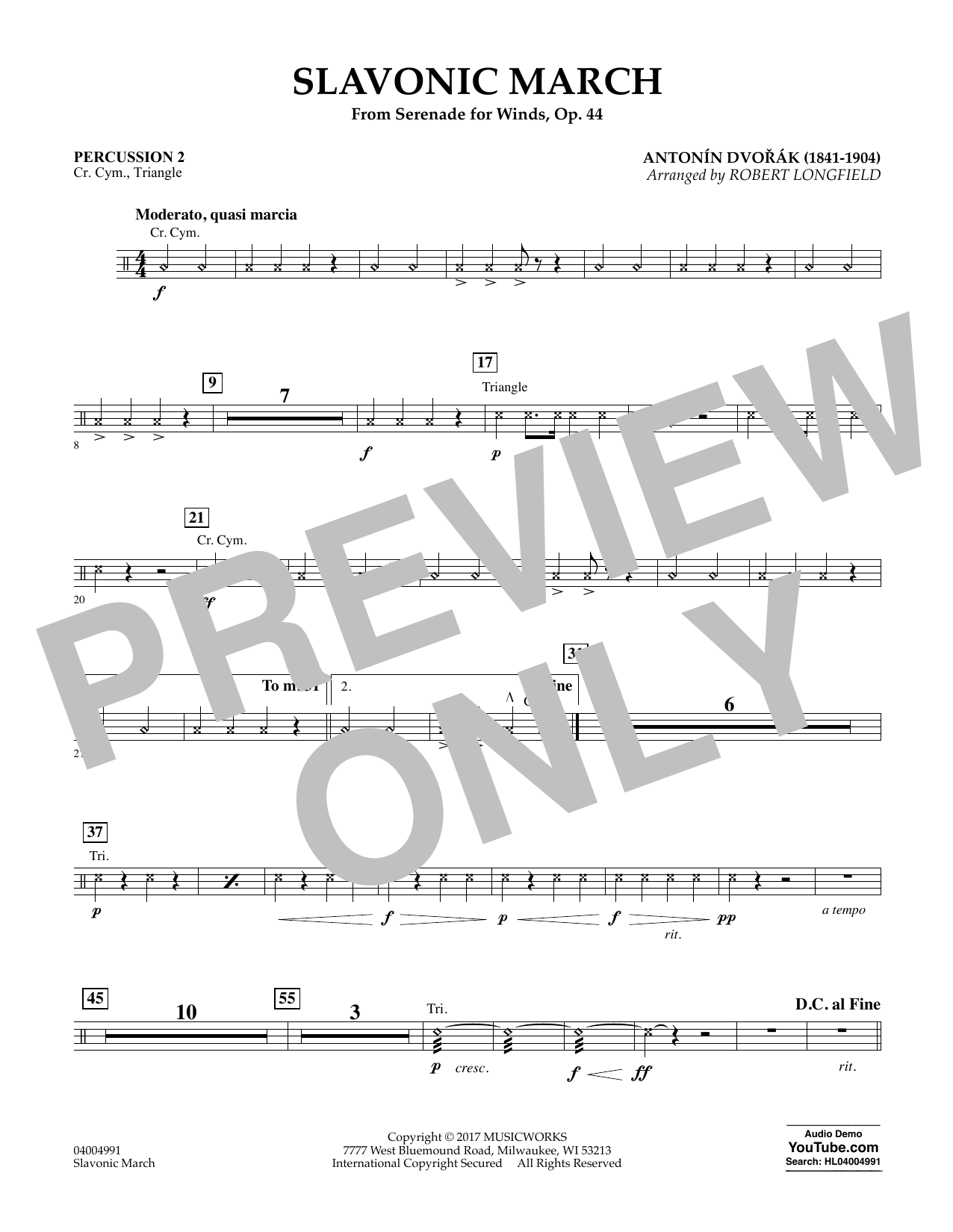 Slavonic March (from Serenade for Winds, Op. 44) - Percussion 2 Sheet Music
