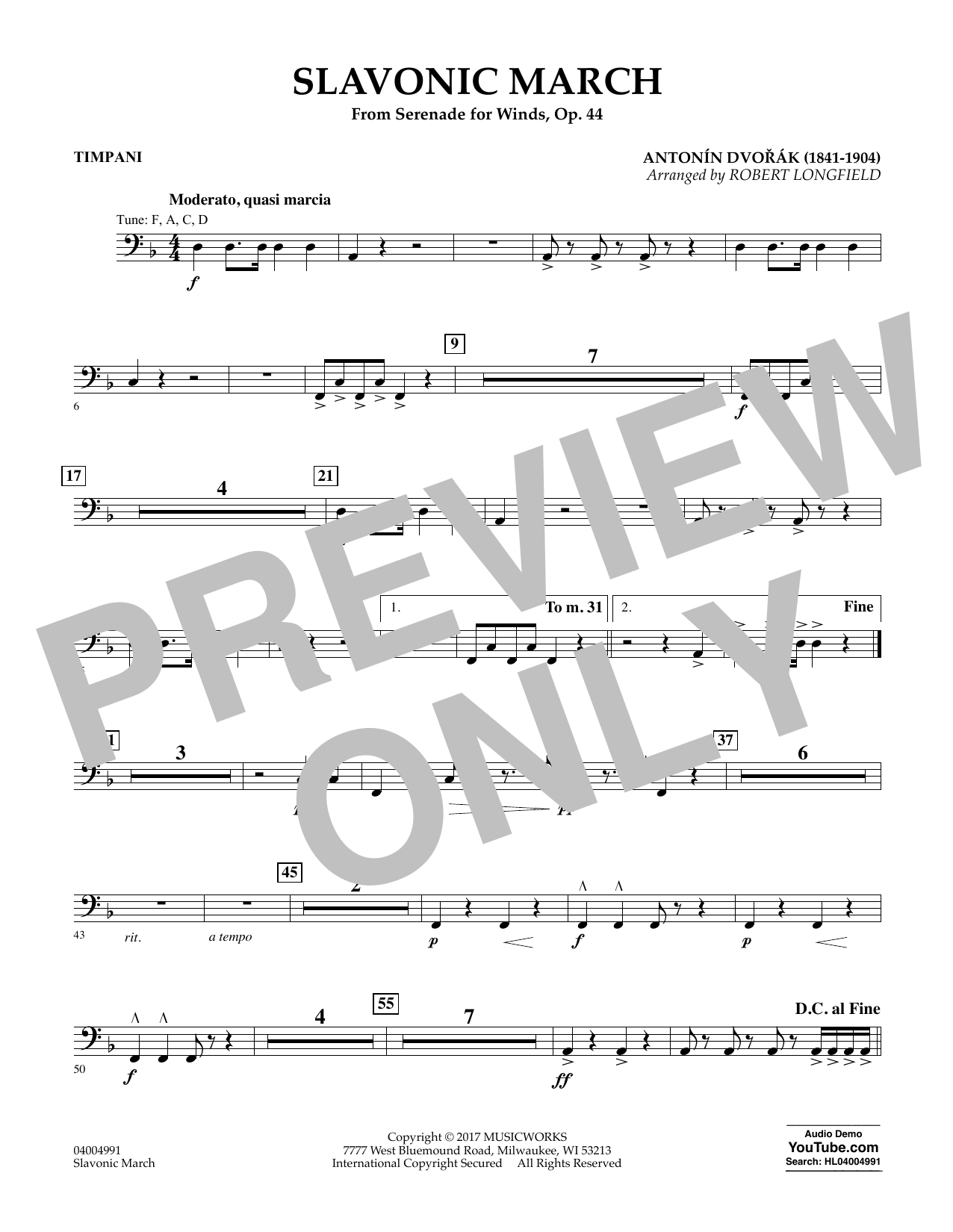 Slavonic March (from Serenade for Winds, Op. 44) - Timpani Sheet Music