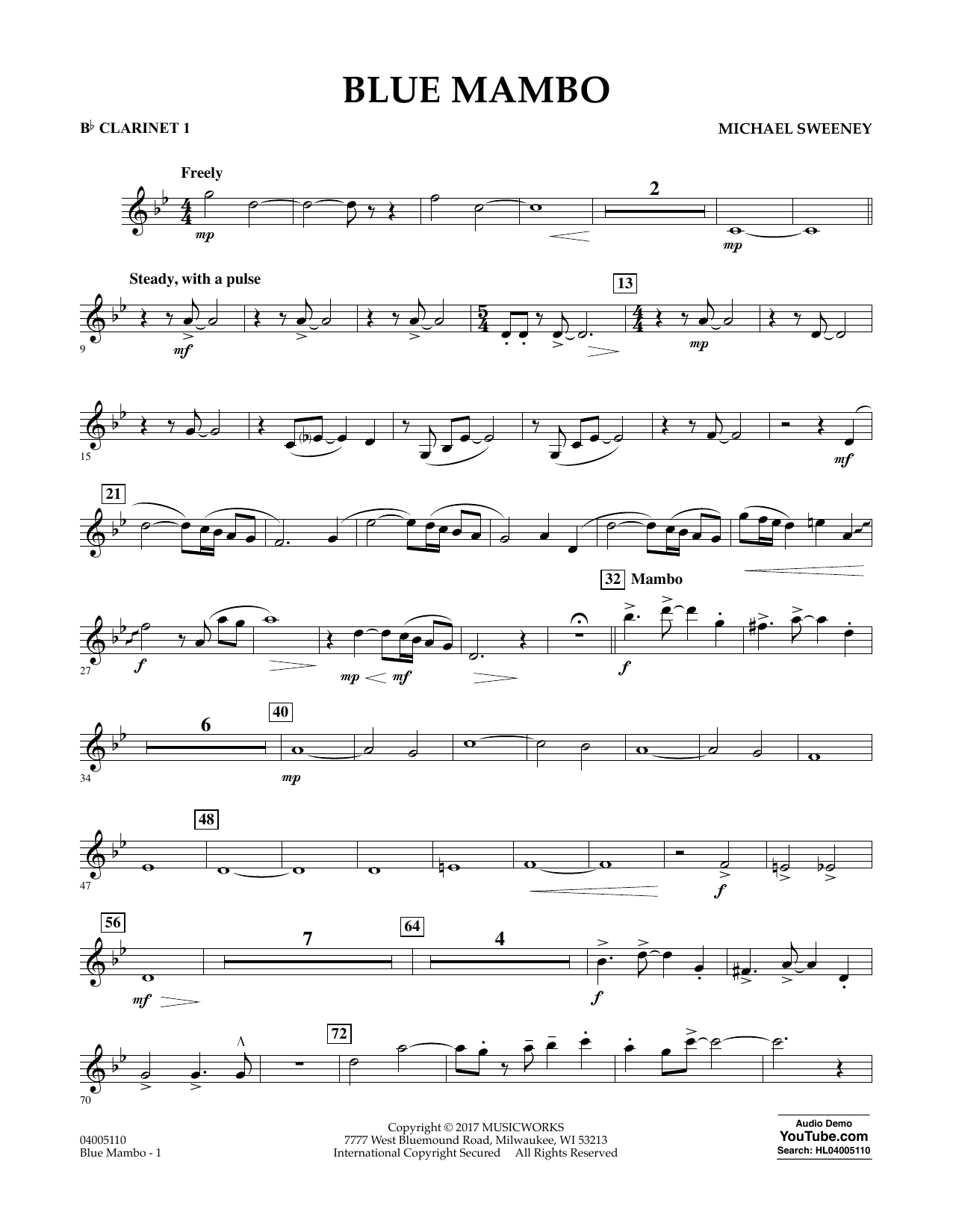 Blue Mambo - Bb Clarinet 1 Sheet Music