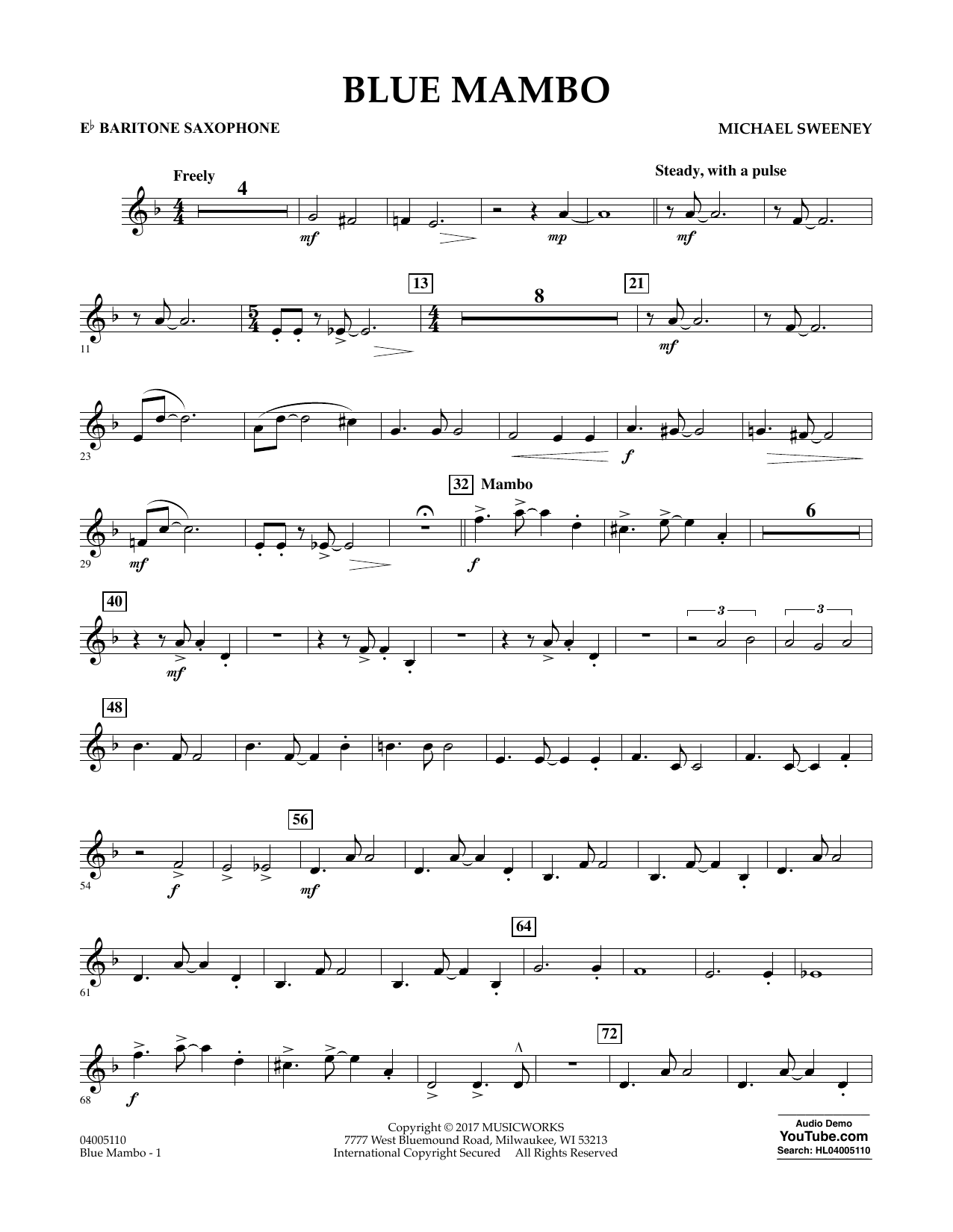 Blue Mambo - Eb Baritone Saxophone Digitale Noten