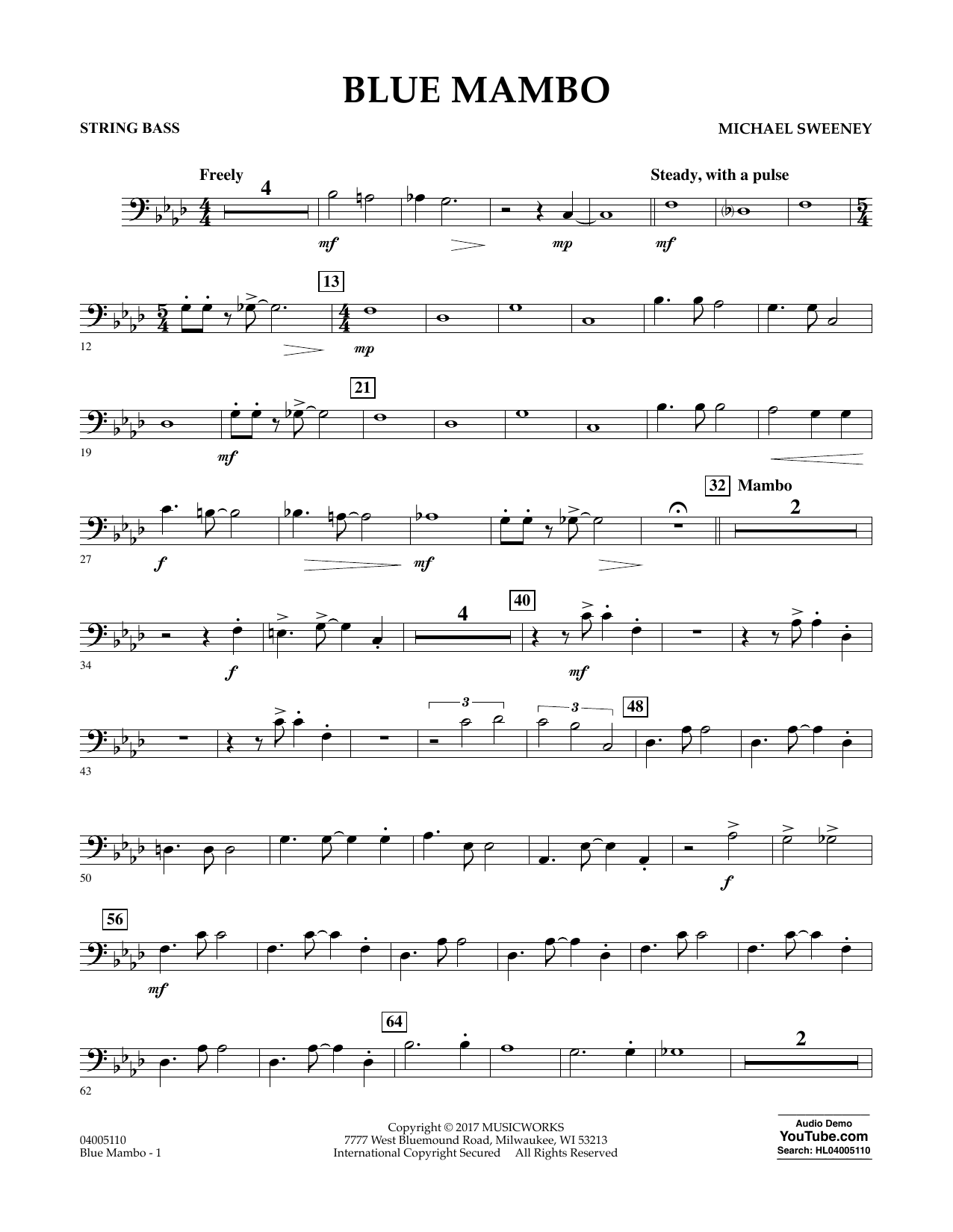 Blue Mambo - String Bass Sheet Music