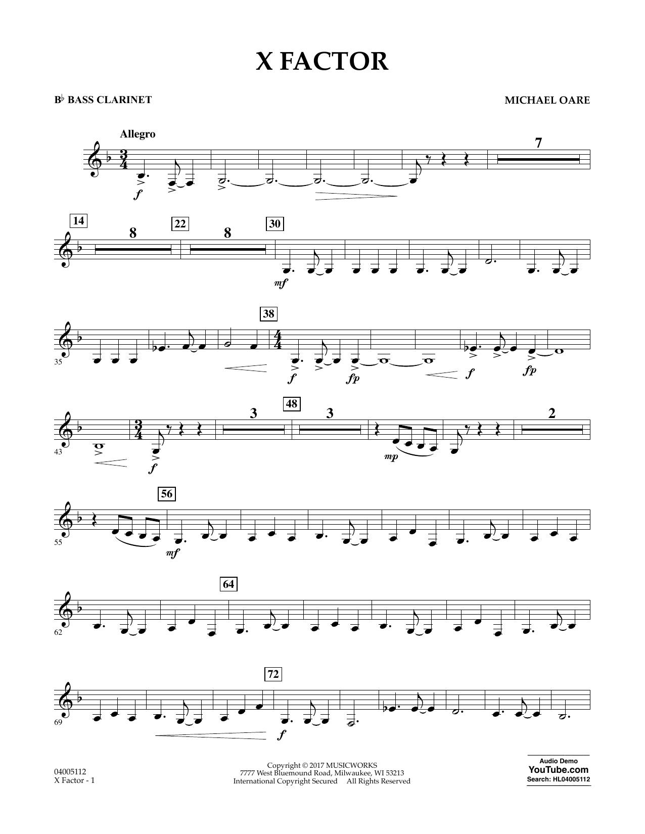 X Factor - Bb Bass Clarinet Sheet Music