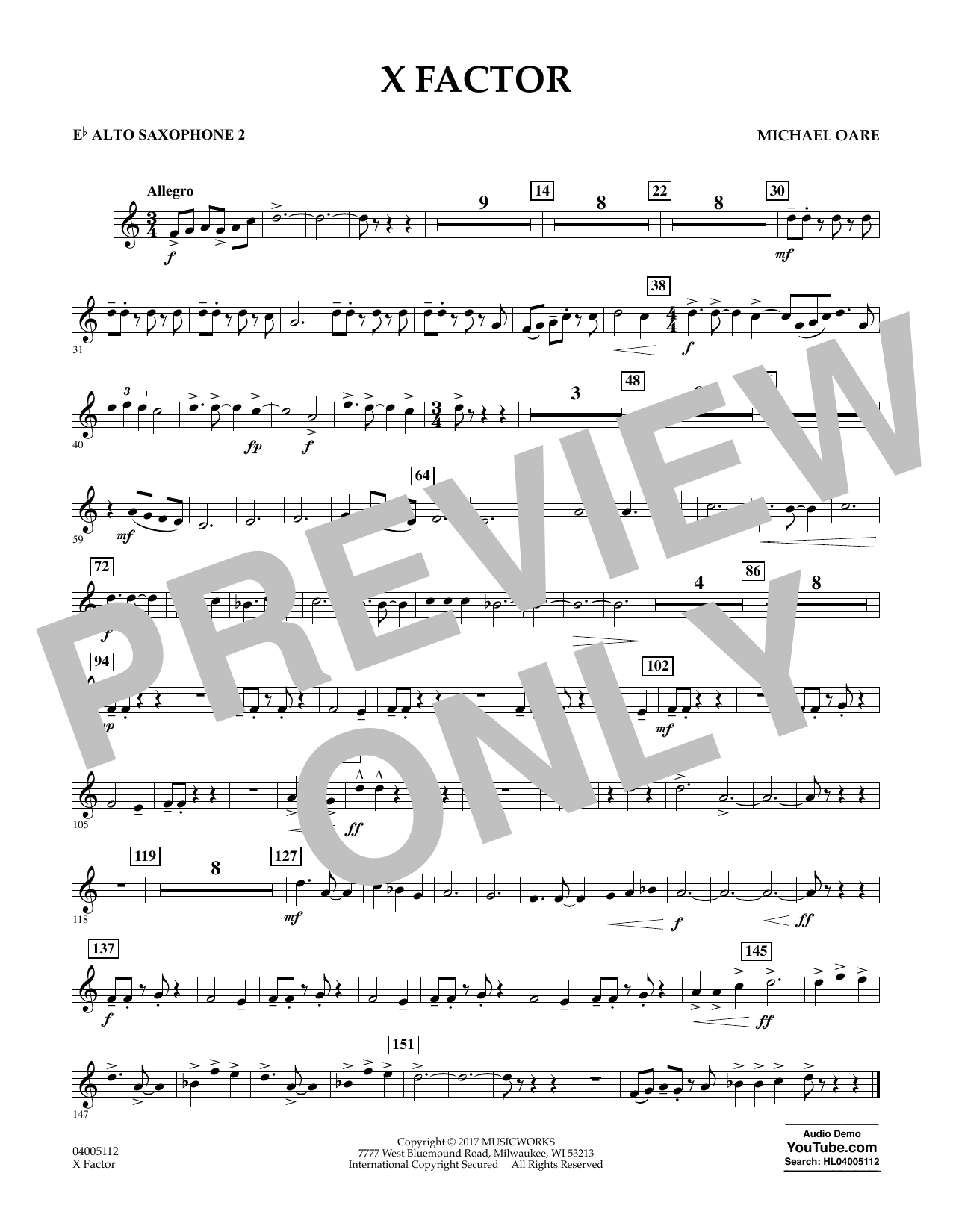 X Factor - Eb Alto Saxophone 2 Partition Digitale