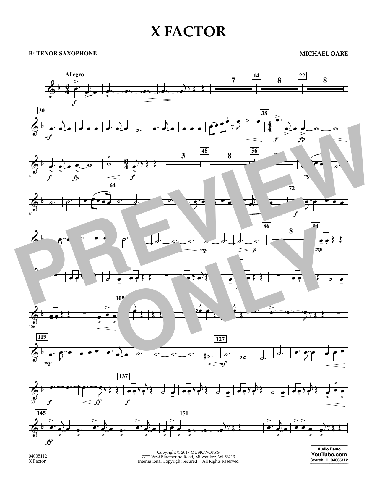 X Factor - Bb Tenor Saxophone (Concert Band)
