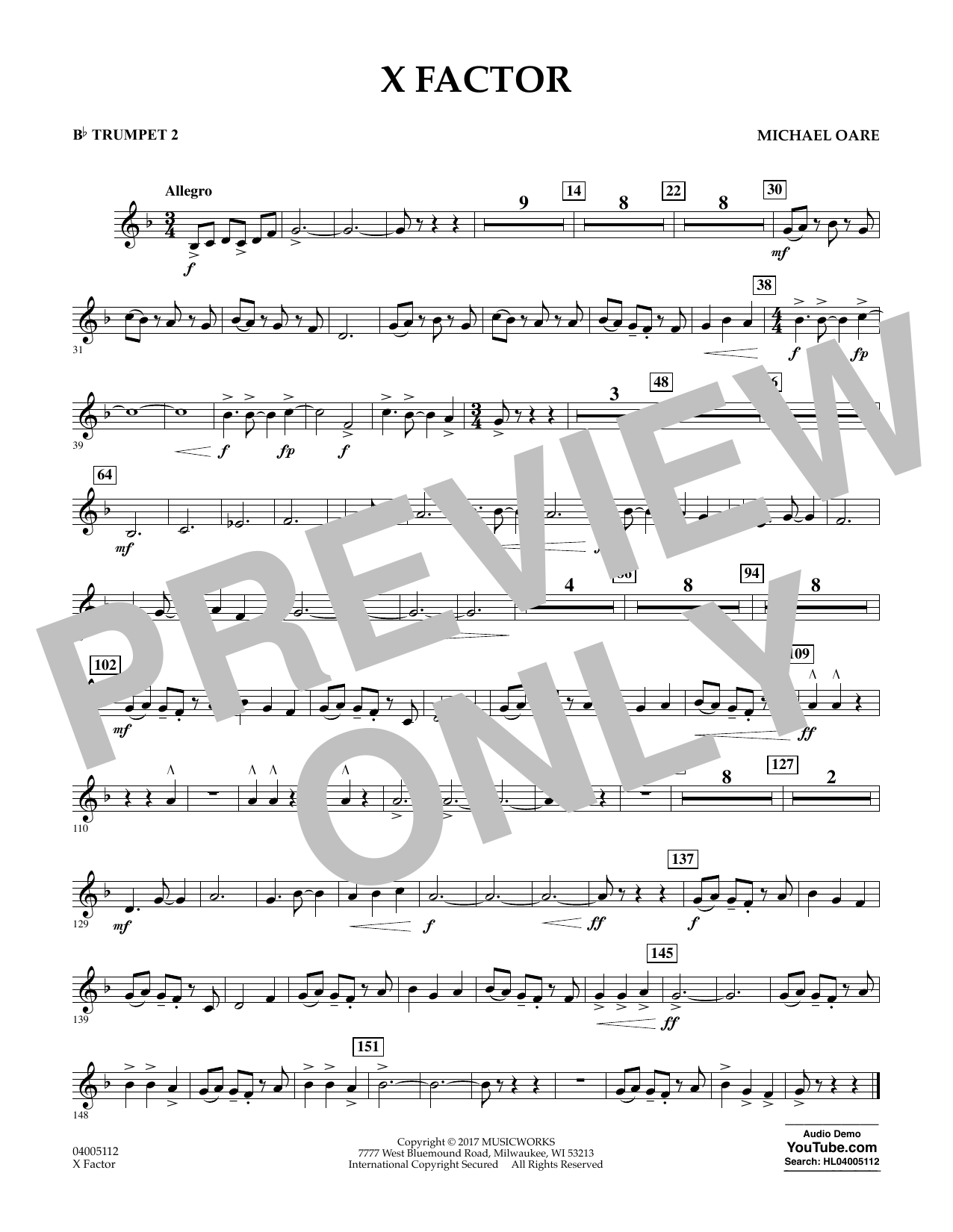 X Factor - Bb Trumpet 2 Sheet Music