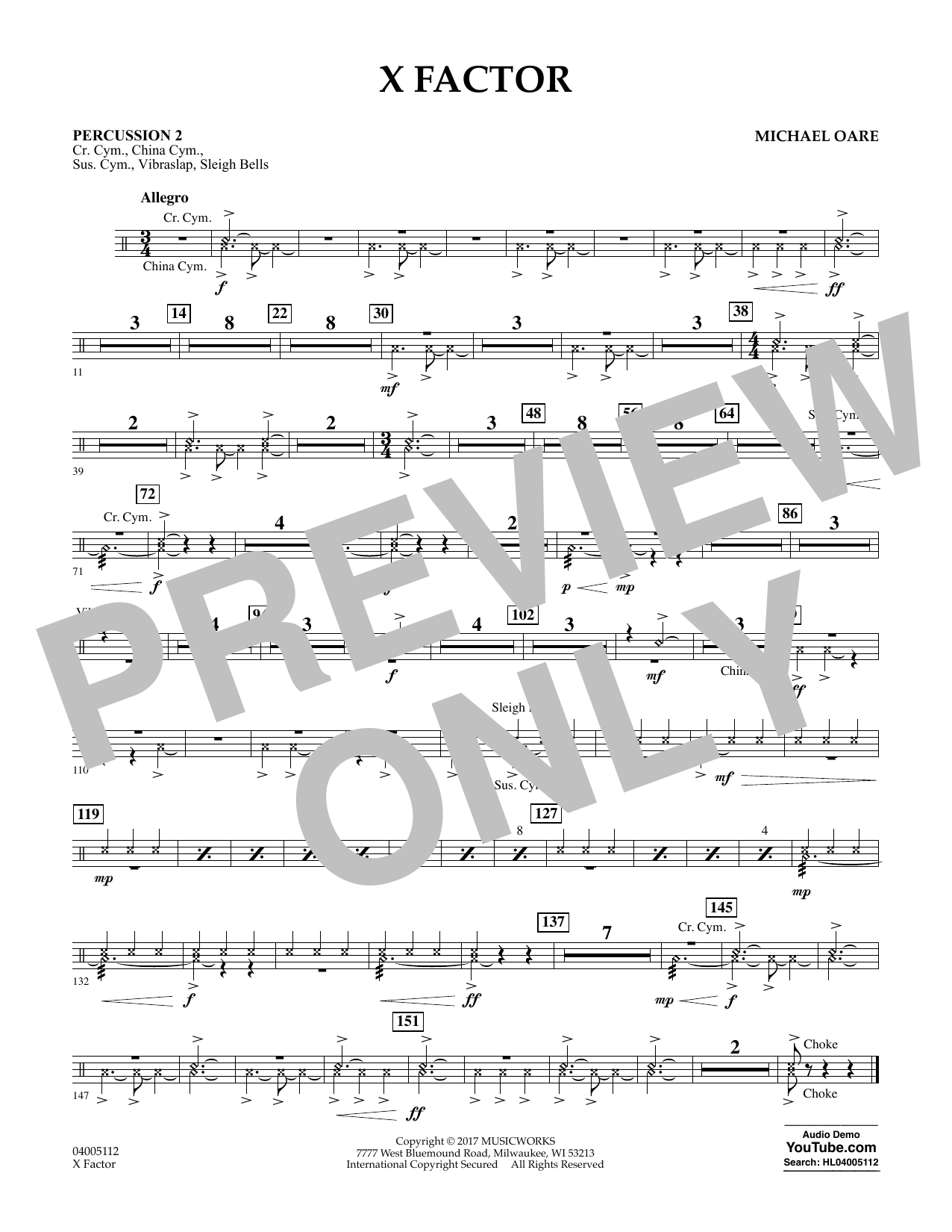 X Factor - Percussion 2 Sheet Music