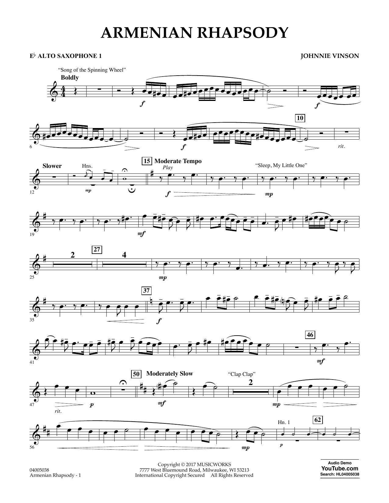 Armenian Rhapsody - Eb Alto Saxophone 1 atStanton's Sheet Music