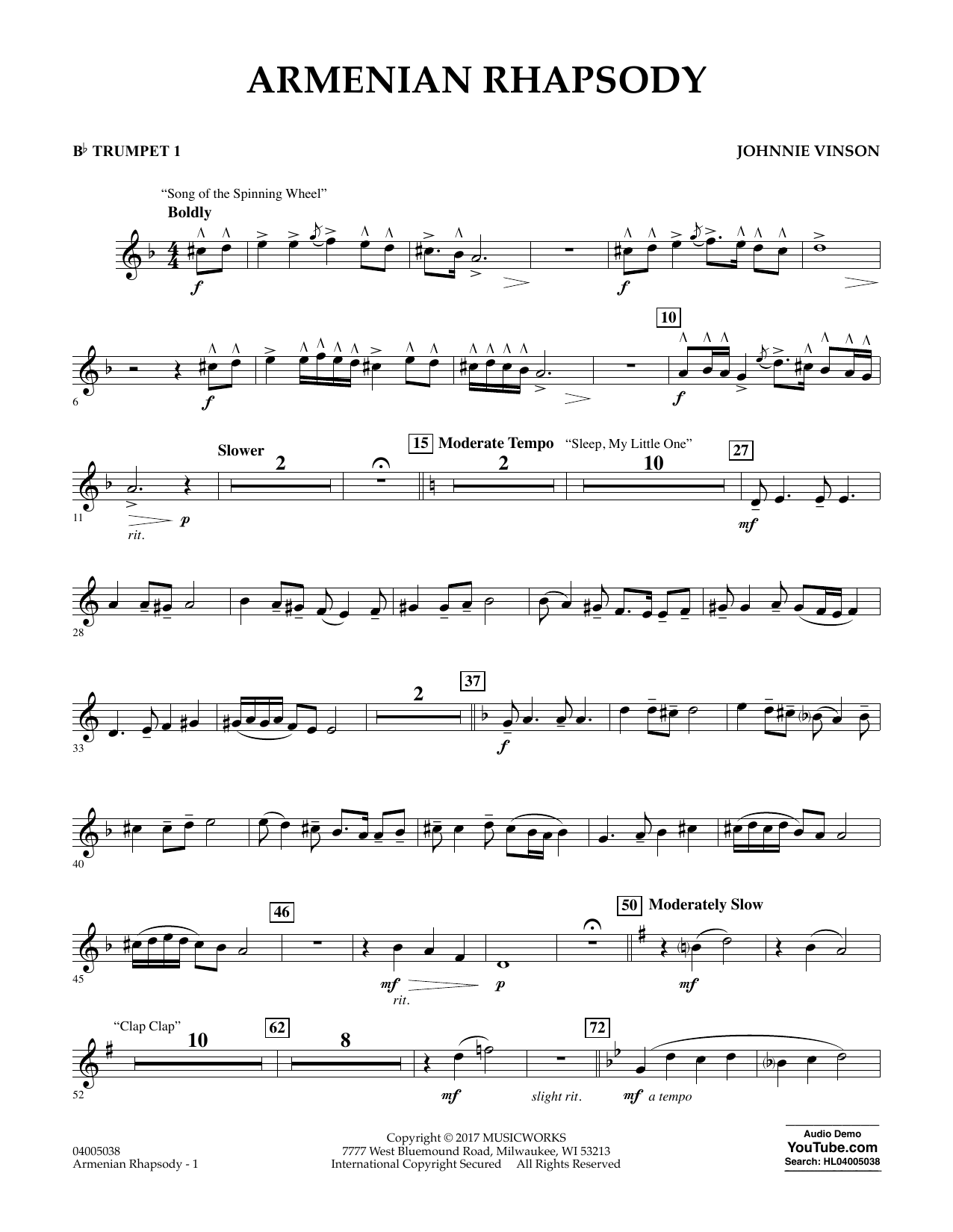 Armenian Rhapsody - Bb Trumpet 1 Sheet Music