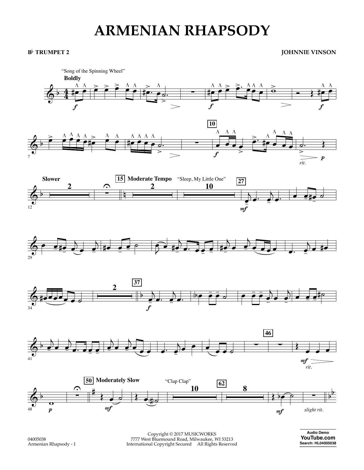 Armenian Rhapsody - Bb Trumpet 2 Sheet Music