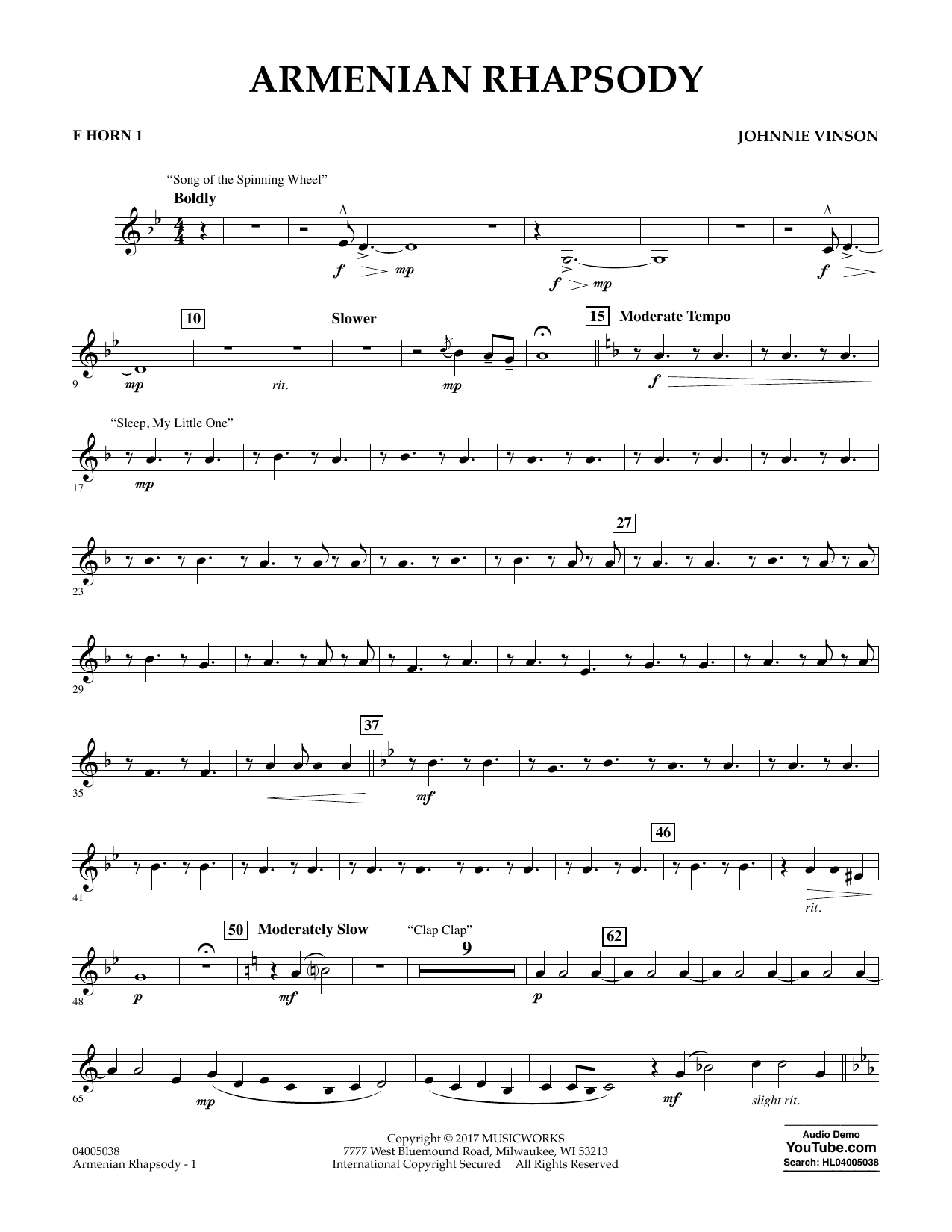 Armenian Rhapsody - F Horn 1 Sheet Music