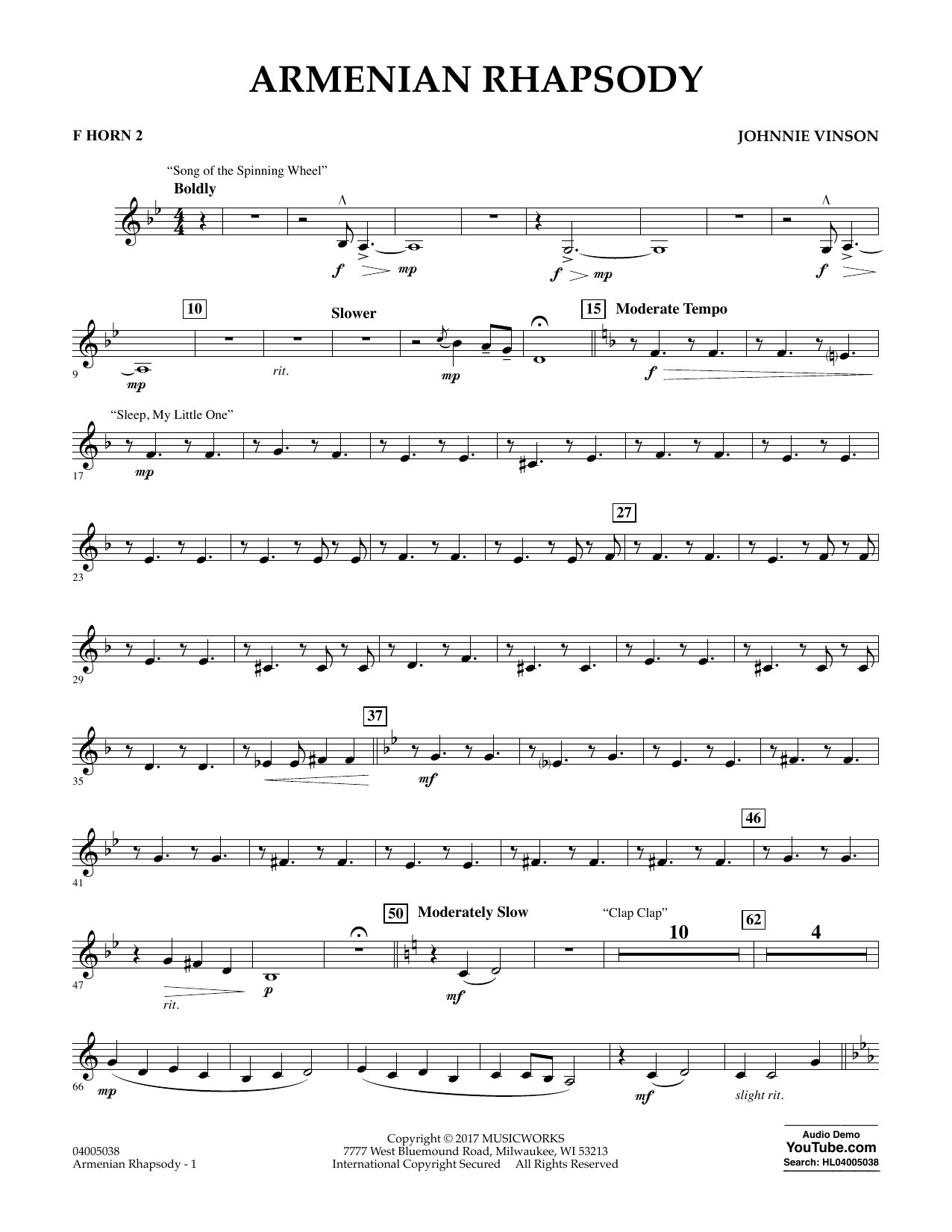 Armenian Rhapsody - F Horn 2 Sheet Music