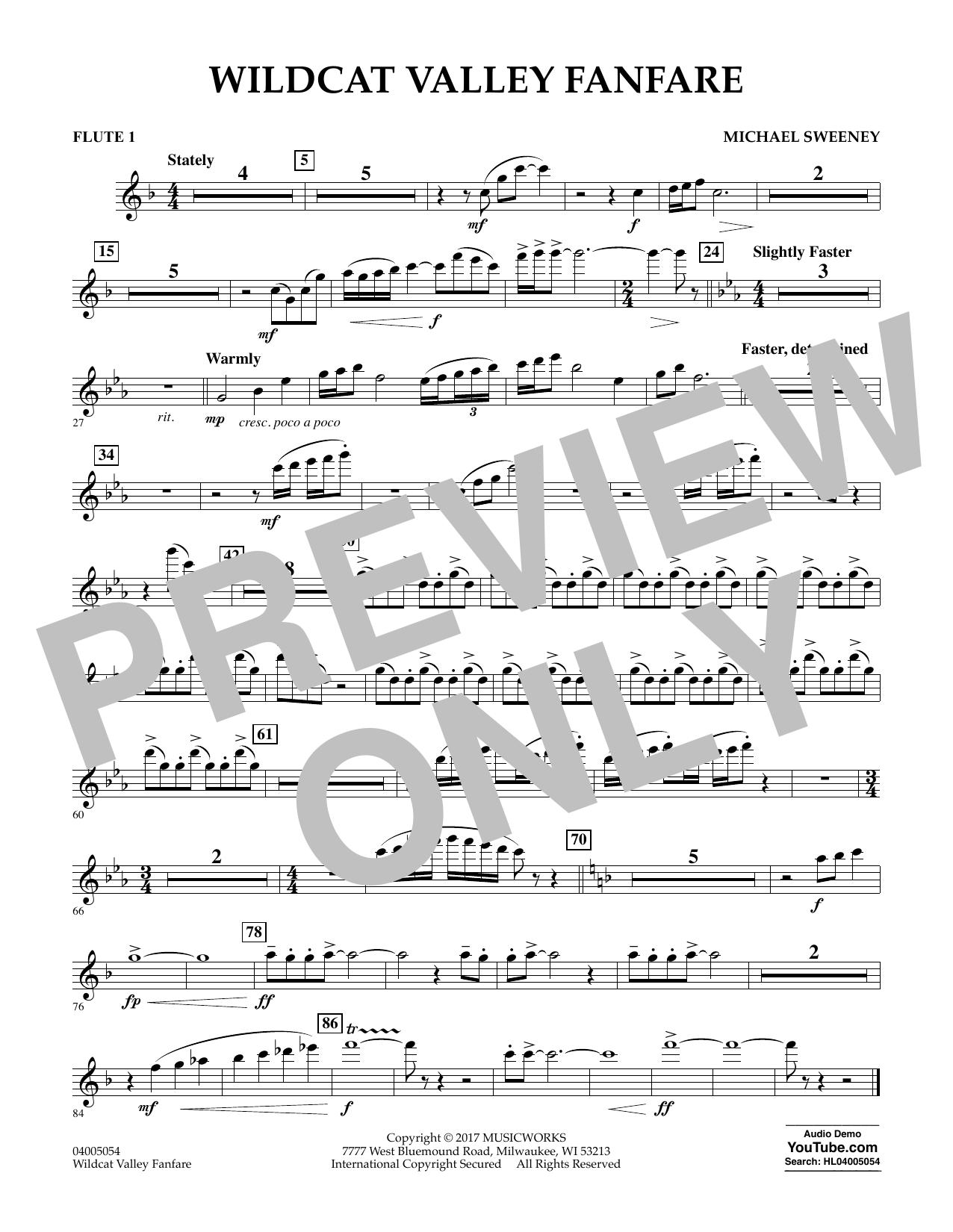Wildcat Valley Fanfare - Flute 1 (Concert Band)
