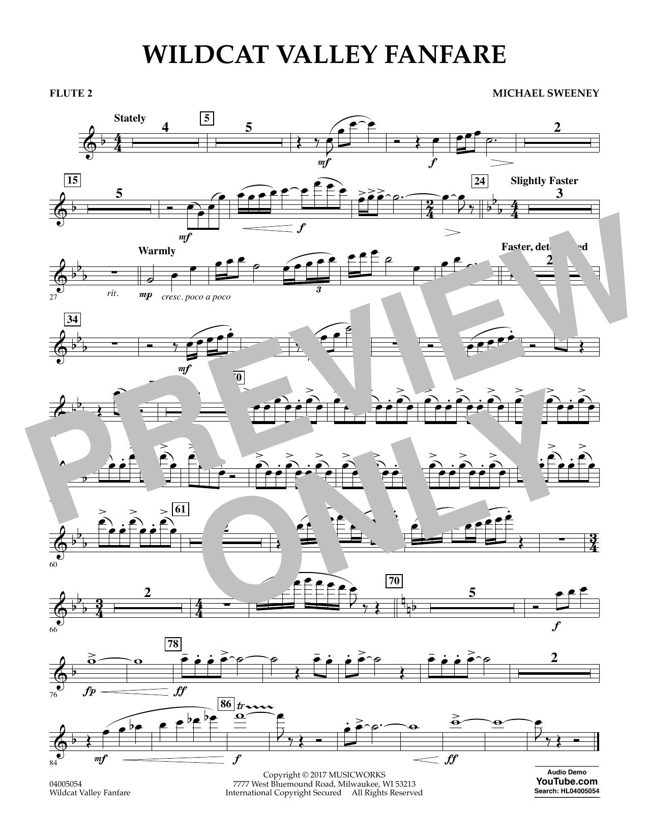 Wildcat Valley Fanfare - Flute 2 Sheet Music