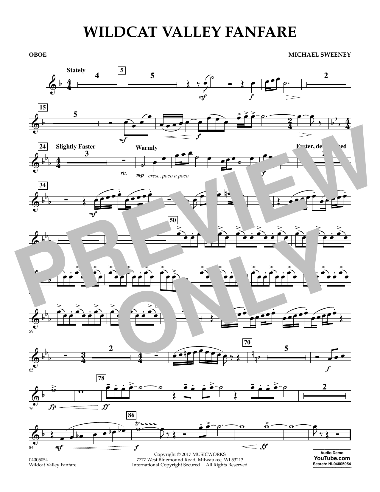 Wildcat Valley Fanfare - Oboe Sheet Music