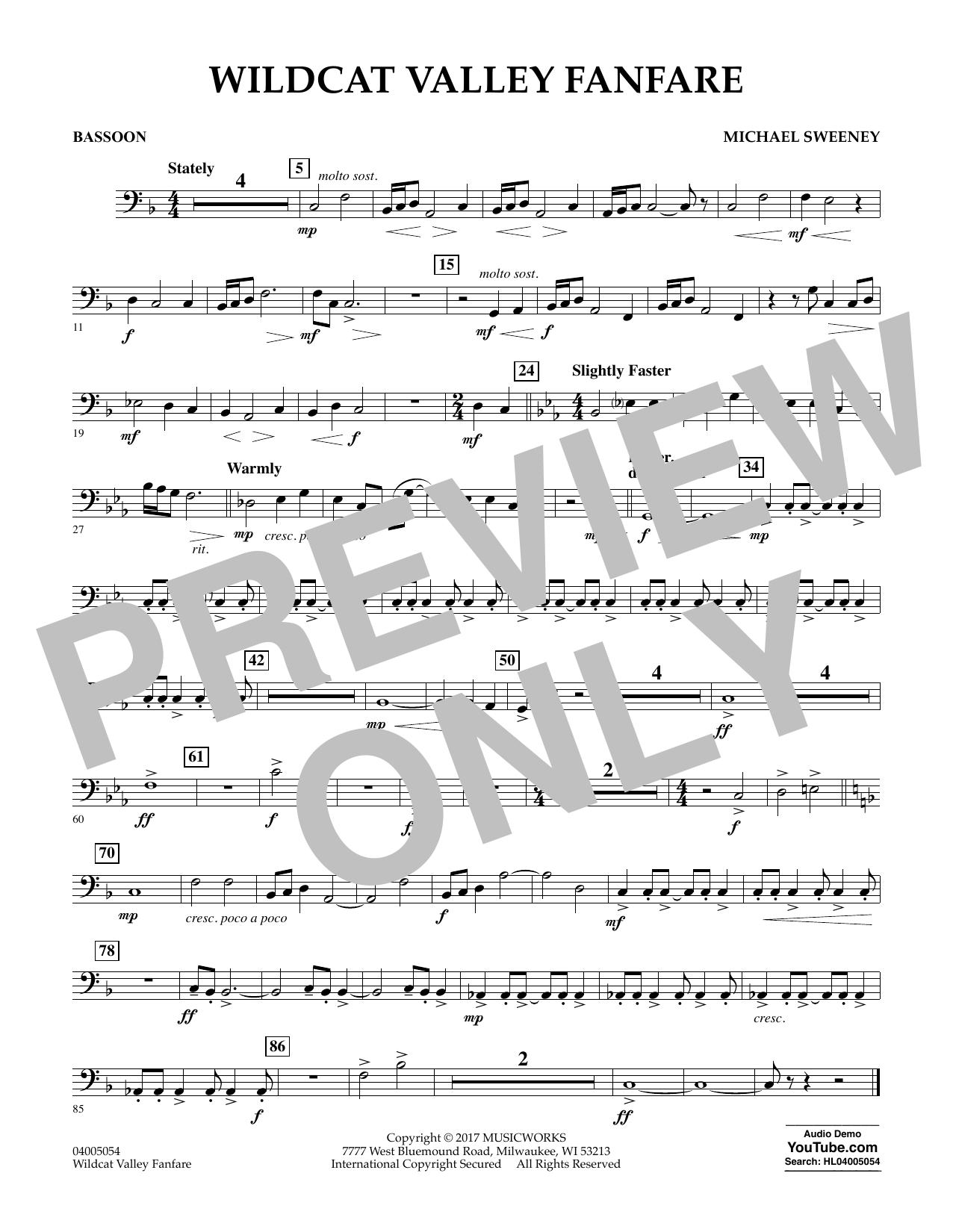 Wildcat Valley Fanfare - Bassoon Sheet Music