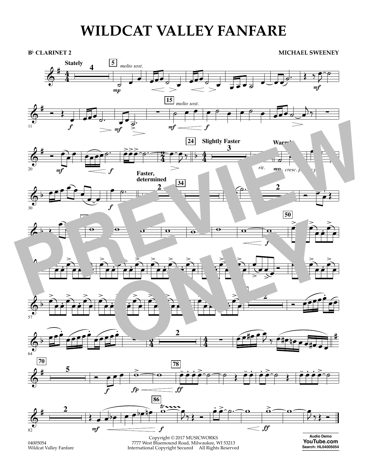 Wildcat Valley Fanfare - Bb Clarinet 2 Sheet Music