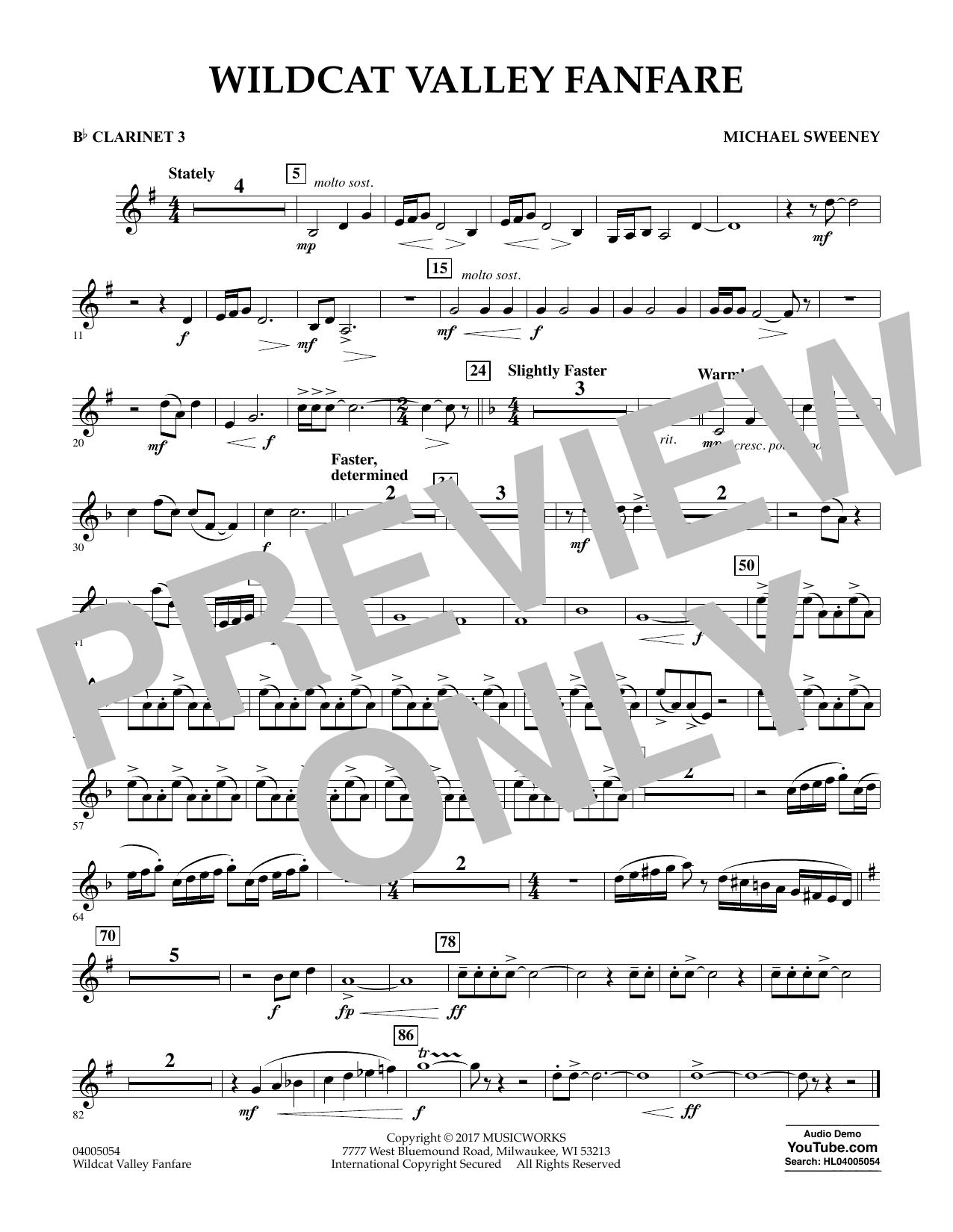 Wildcat Valley Fanfare - Bb Clarinet 3 Sheet Music