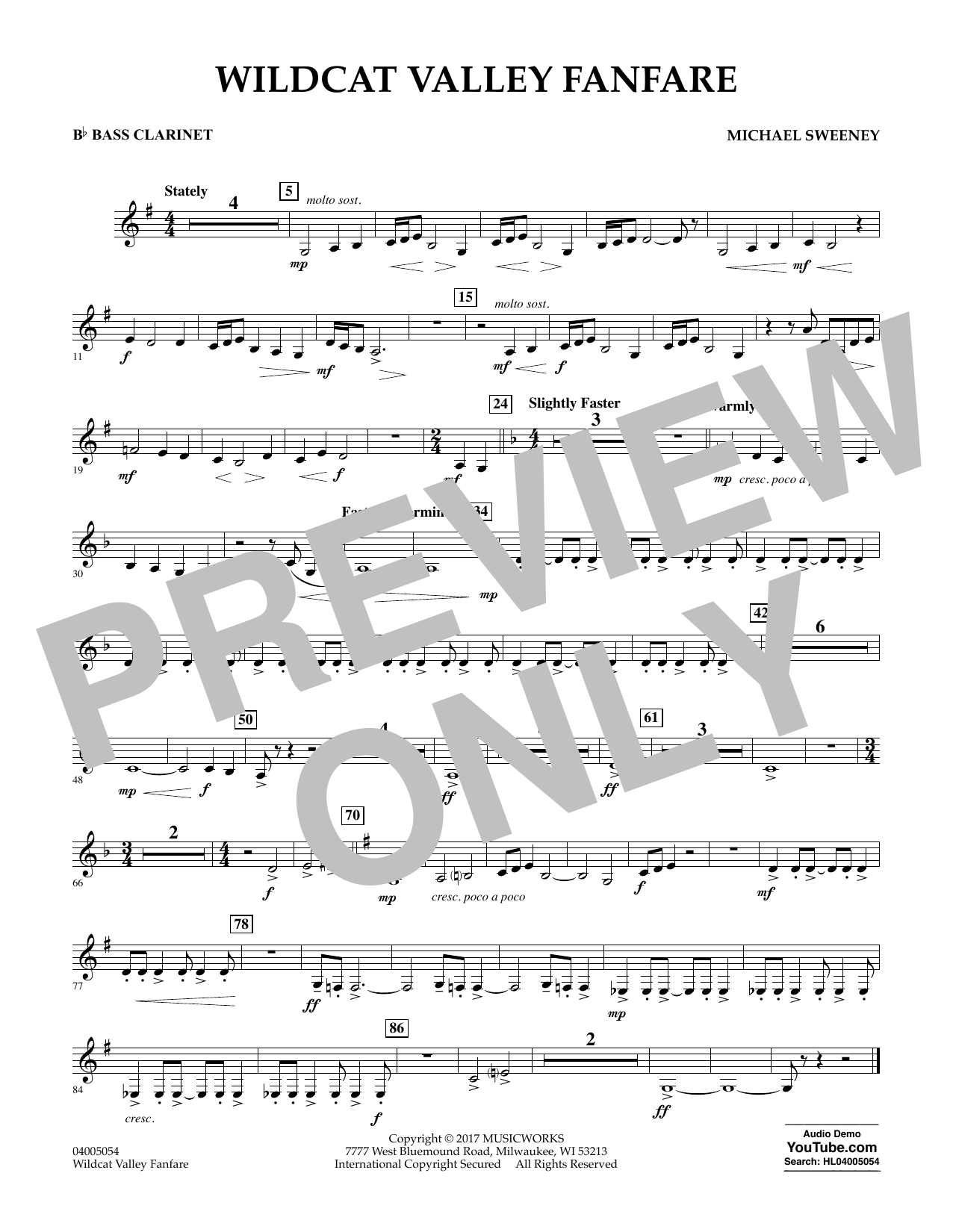 Wildcat Valley Fanfare - Bb Bass Clarinet Sheet Music