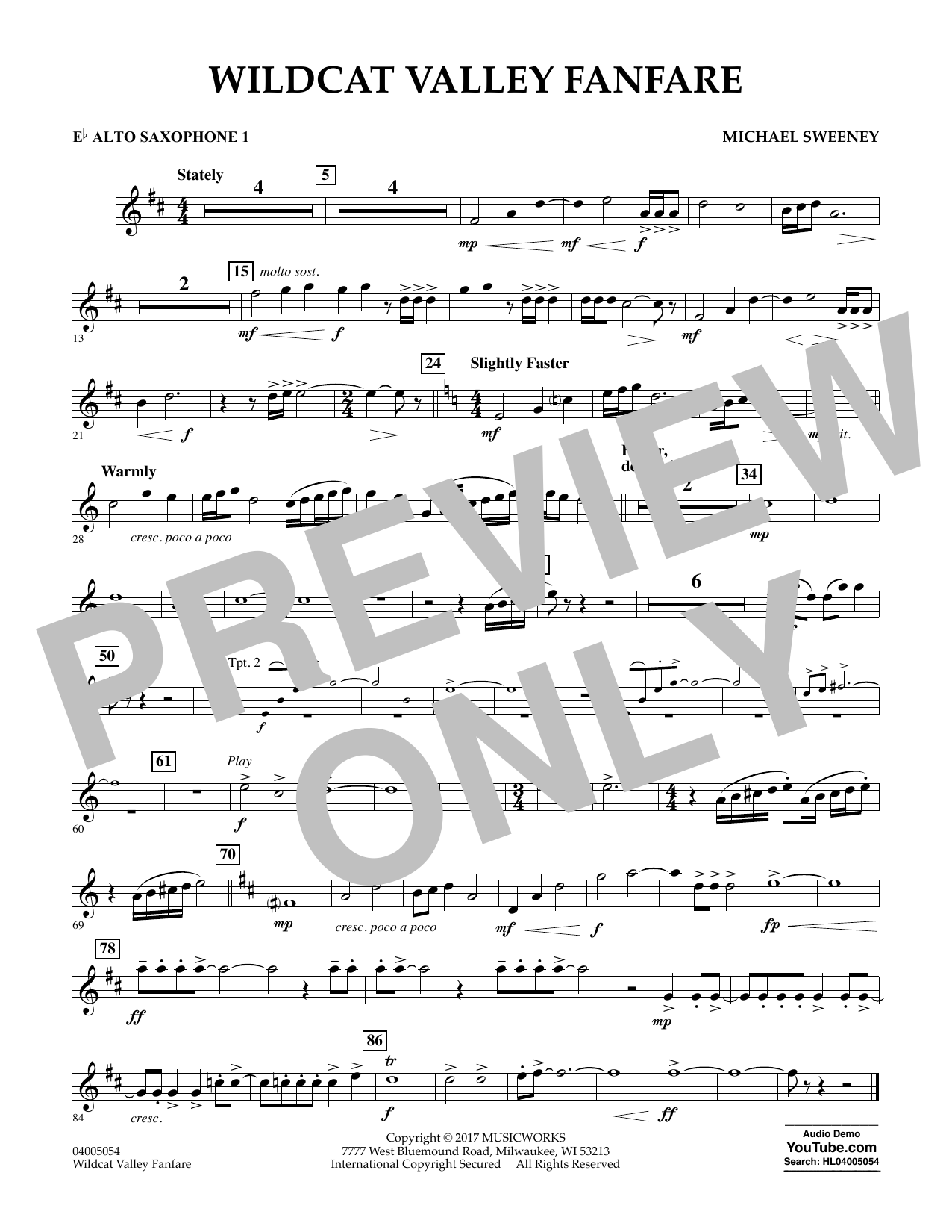 Wildcat Valley Fanfare - Eb Alto Saxophone 1 Partituras Digitales