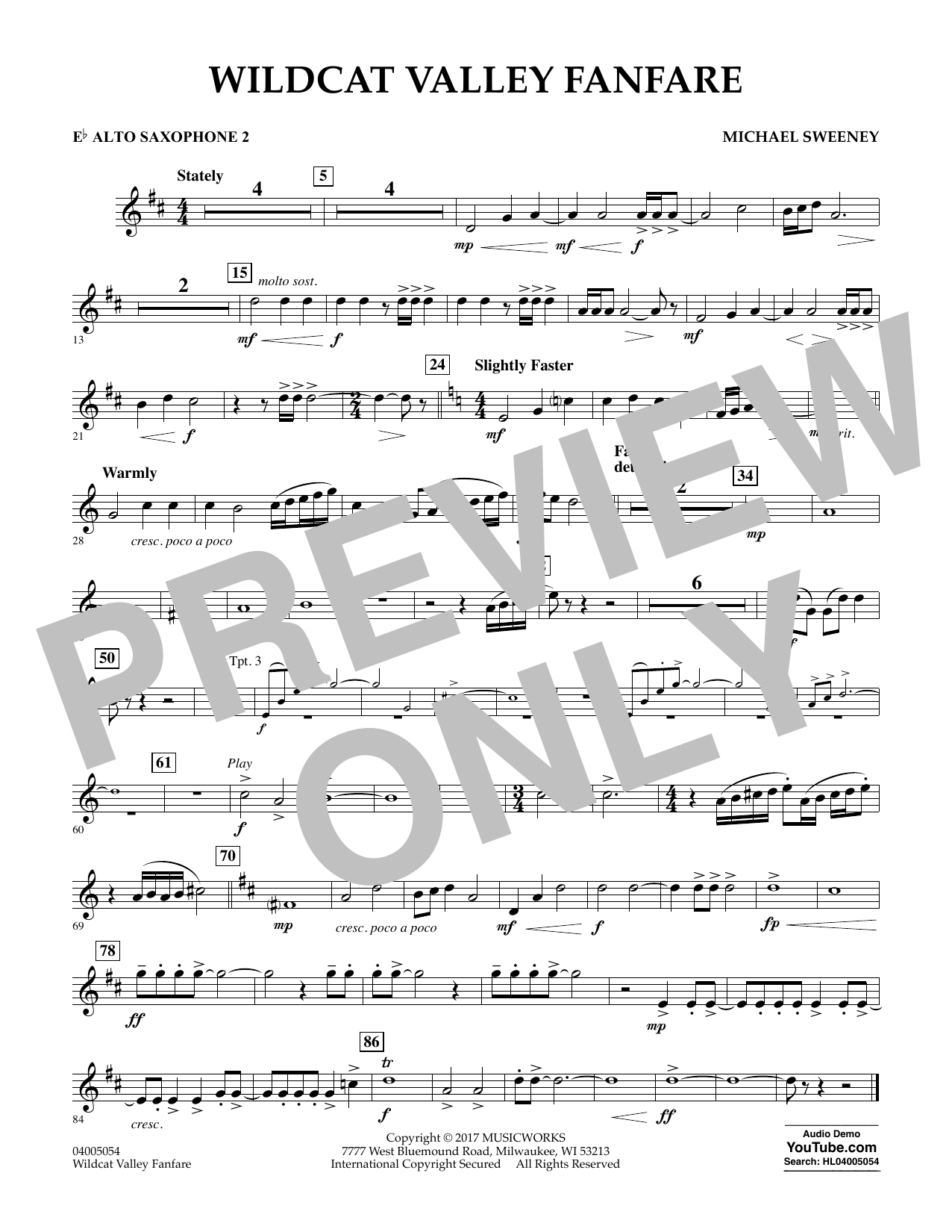 Wildcat Valley Fanfare - Eb Alto Saxophone 2 Sheet Music