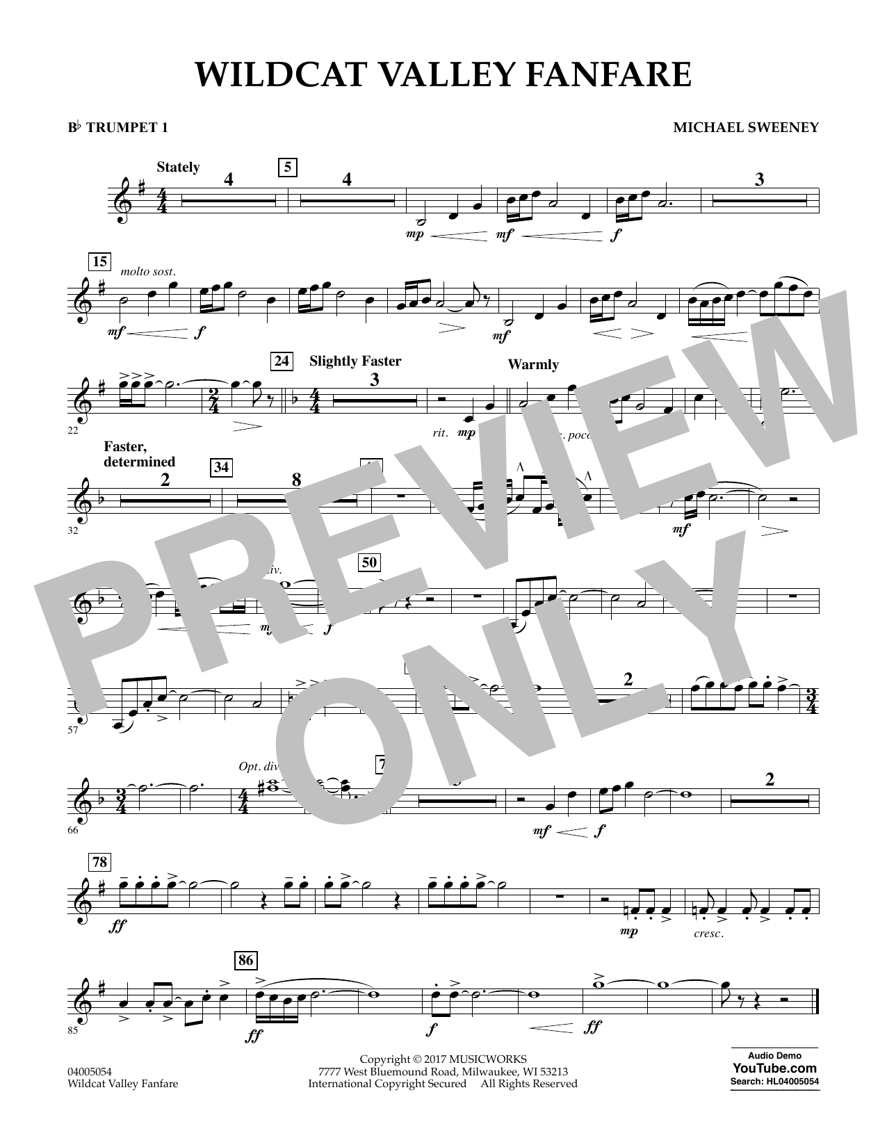 Wildcat Valley Fanfare - Bb Trumpet 1 Sheet Music