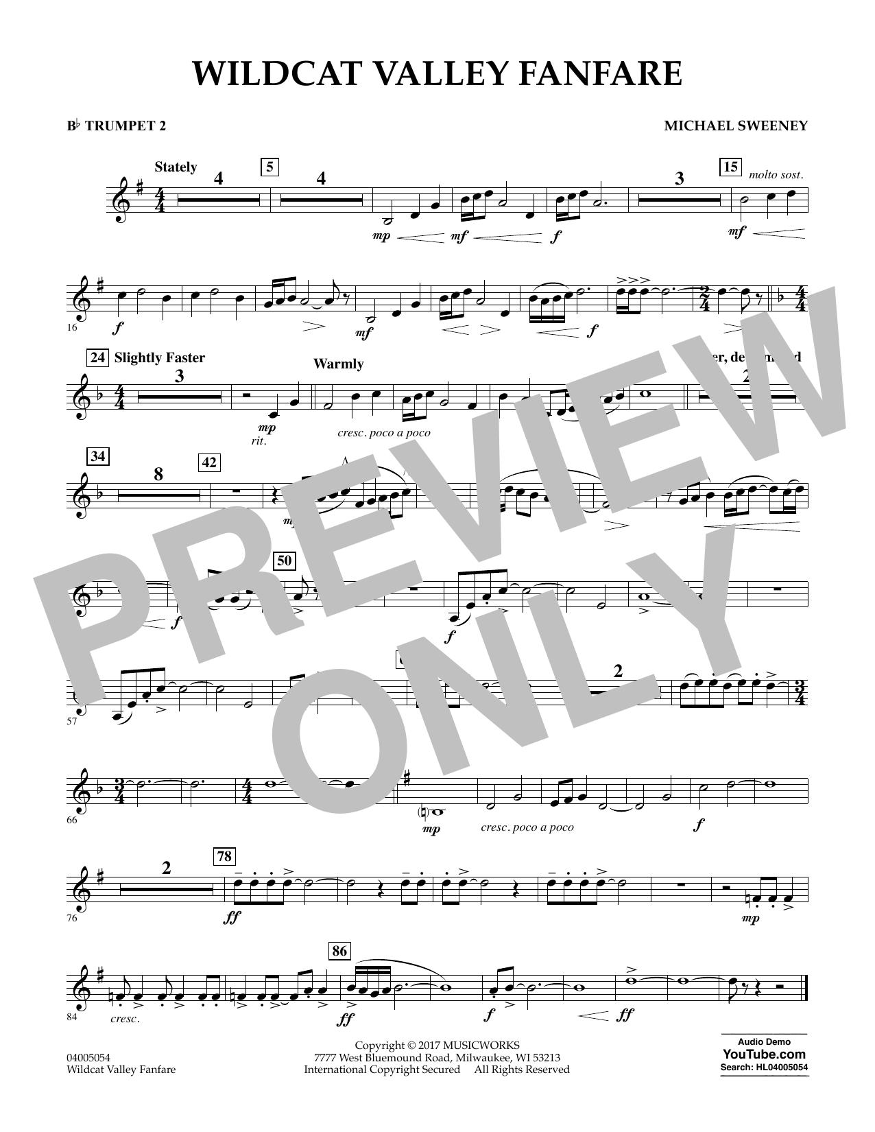Wildcat Valley Fanfare - Bb Trumpet 2 Sheet Music