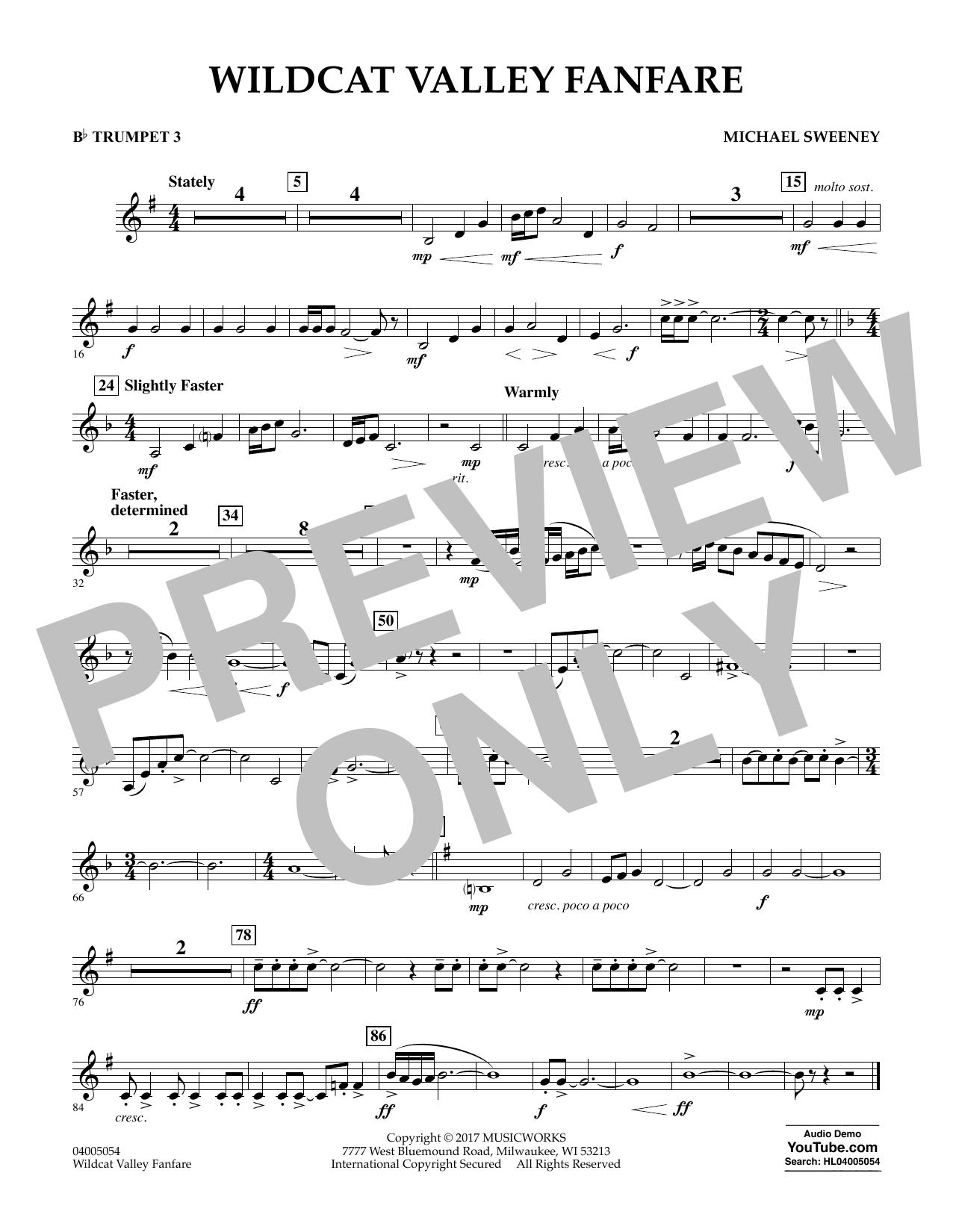 Wildcat Valley Fanfare - Bb Trumpet 3 Sheet Music