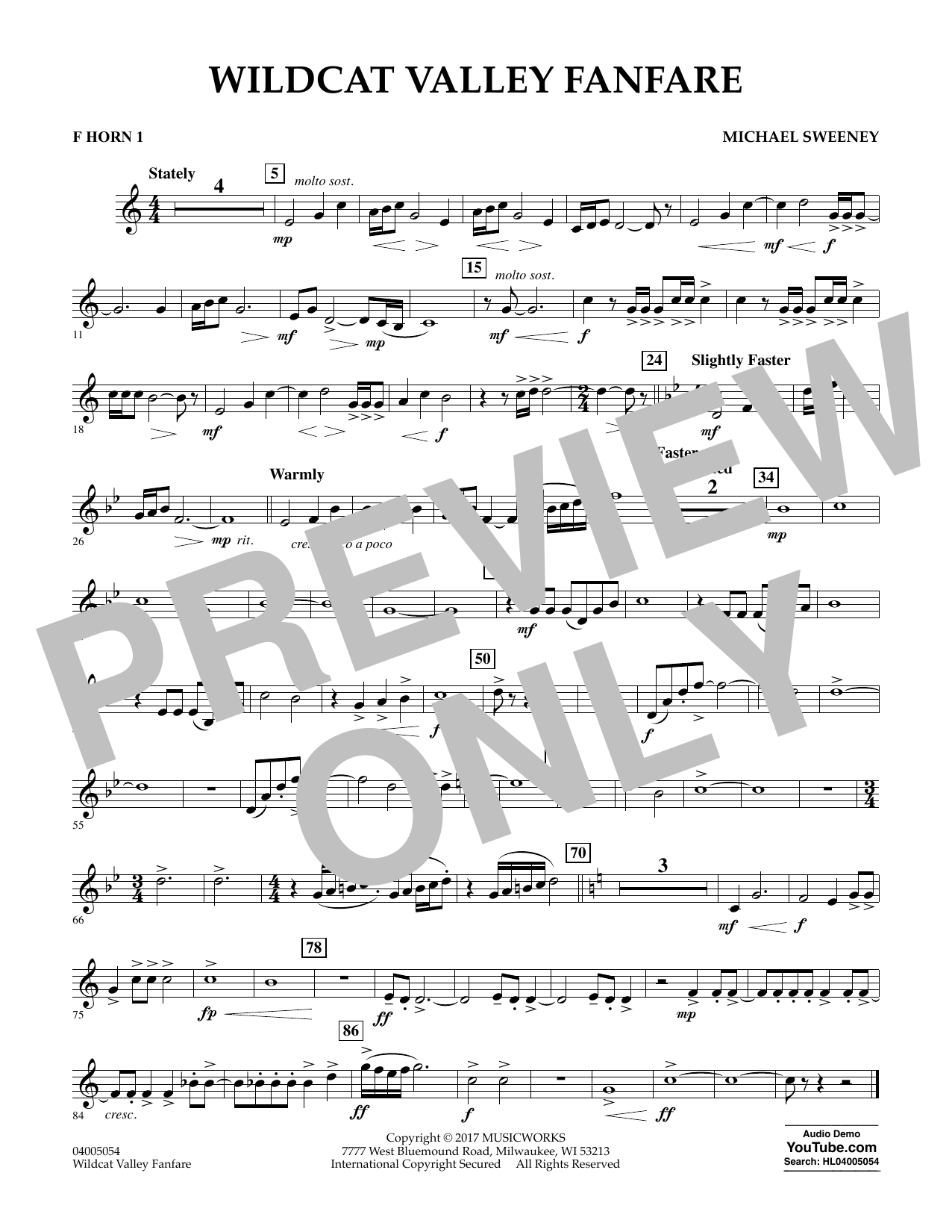 Wildcat Valley Fanfare - F Horn 1 Digitale Noten