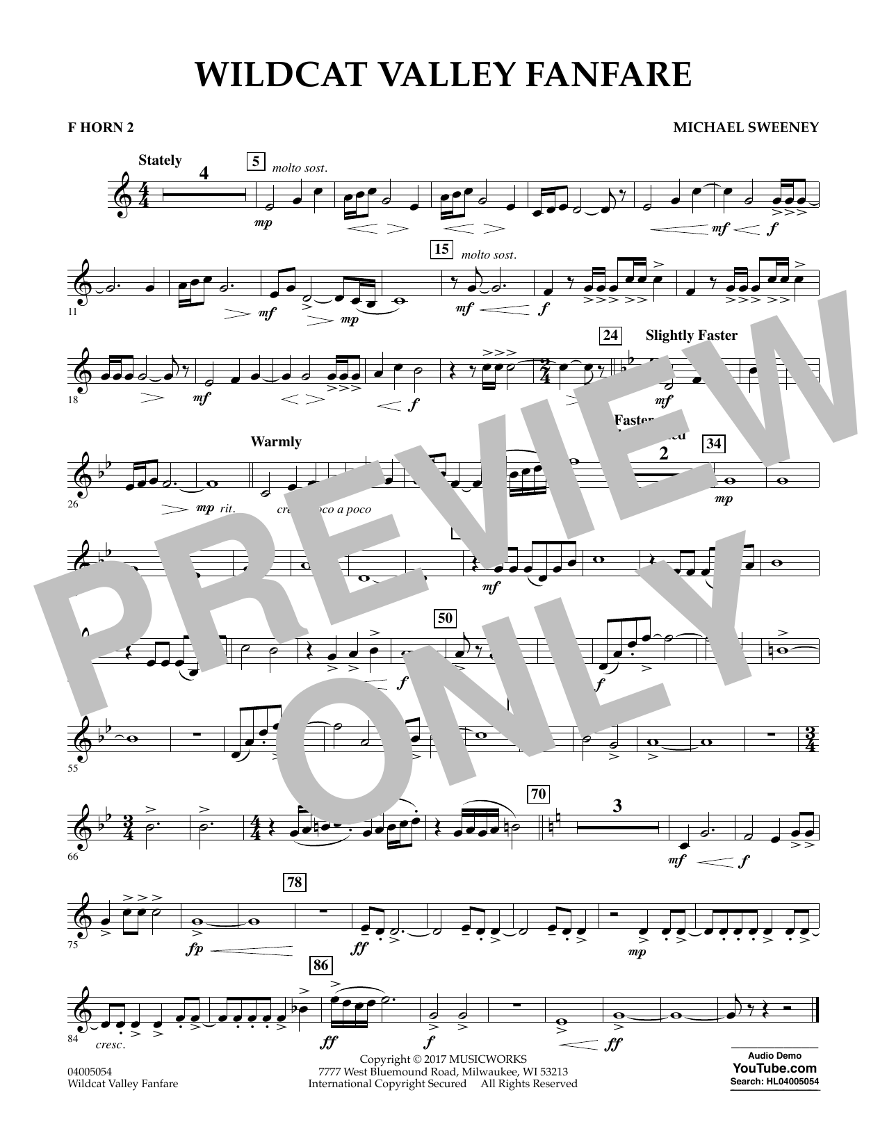 Wildcat Valley Fanfare - F Horn 2 Partituras Digitales
