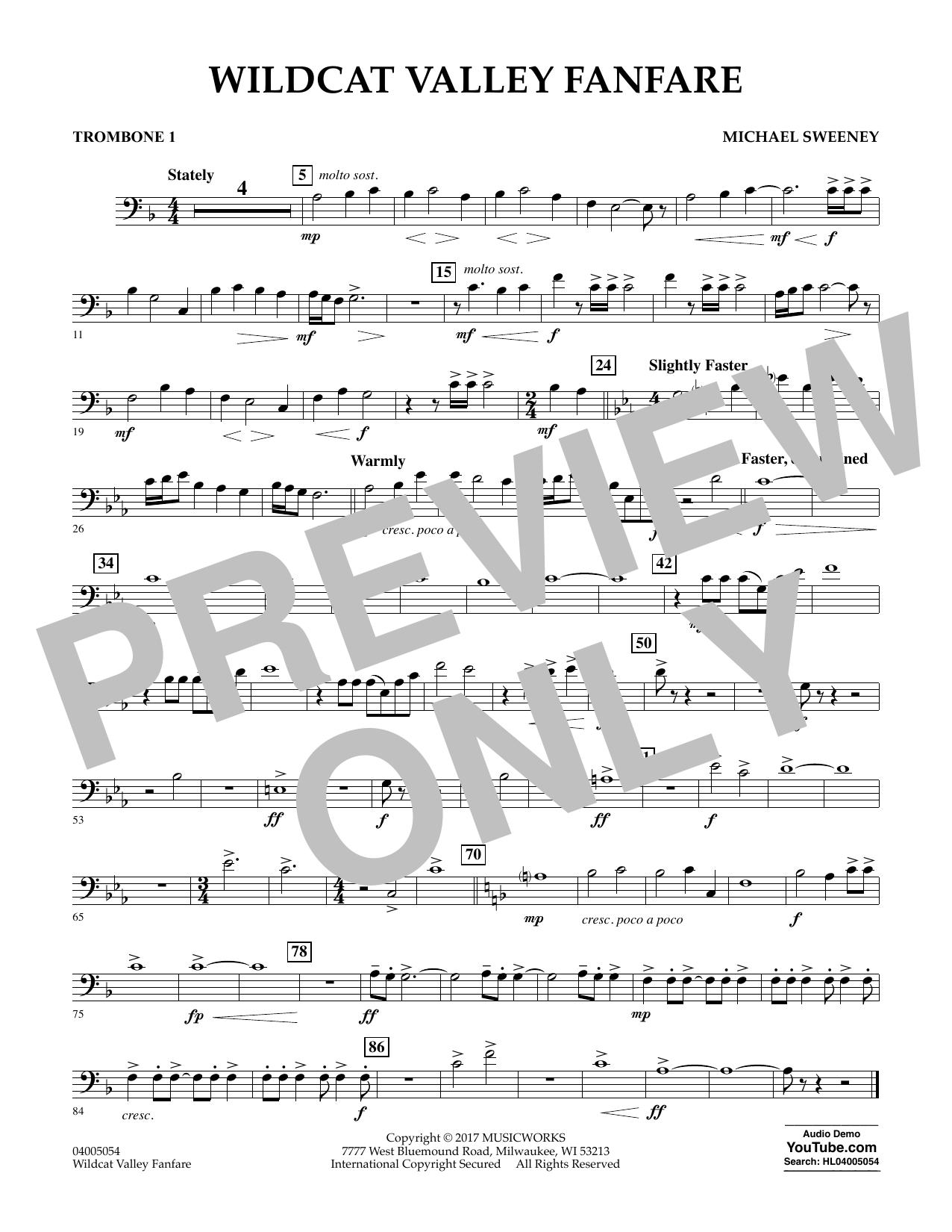Wildcat Valley Fanfare - Trombone 1 Sheet Music