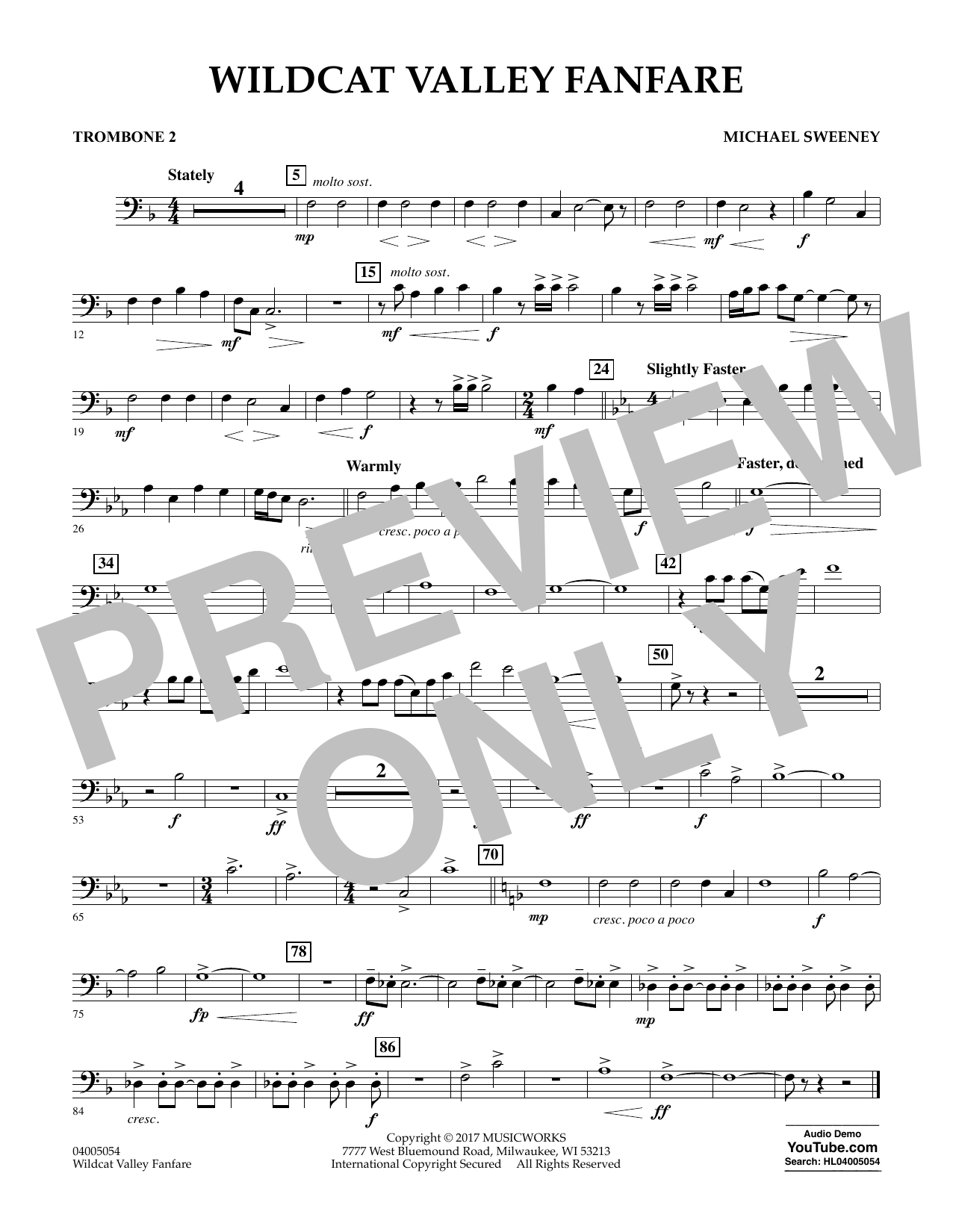 Wildcat Valley Fanfare - Trombone 2 Digitale Noten