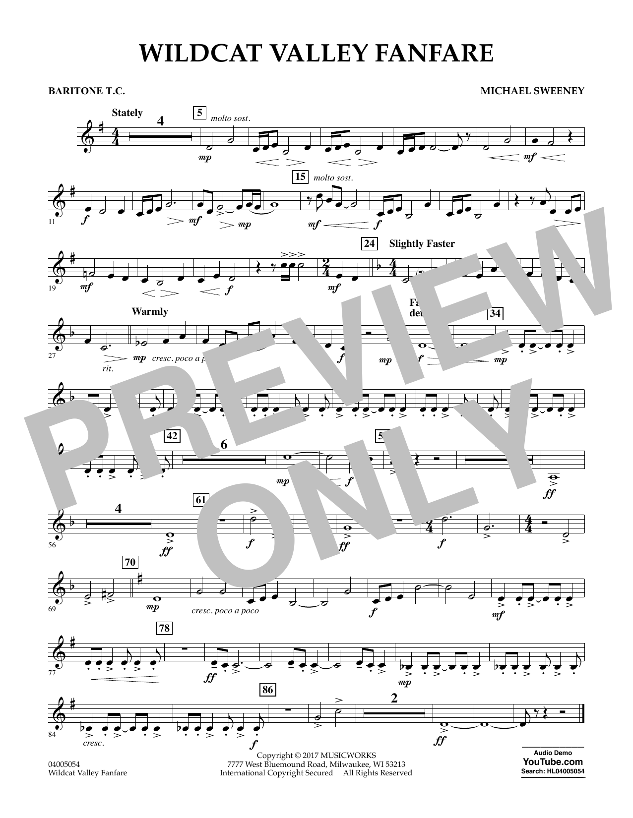 Wildcat Valley Fanfare - Baritone T.C. Sheet Music