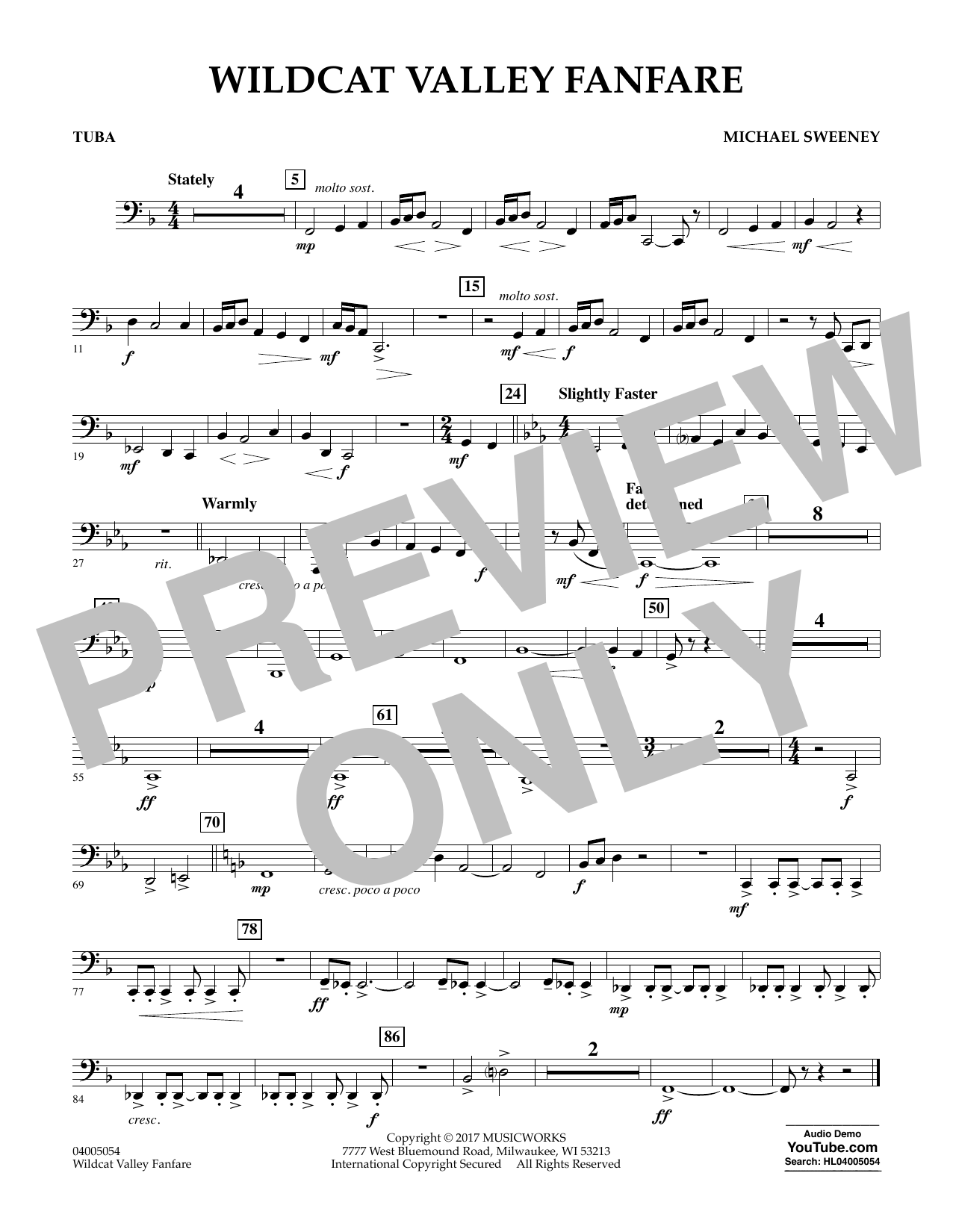 Wildcat Valley Fanfare - Tuba Sheet Music