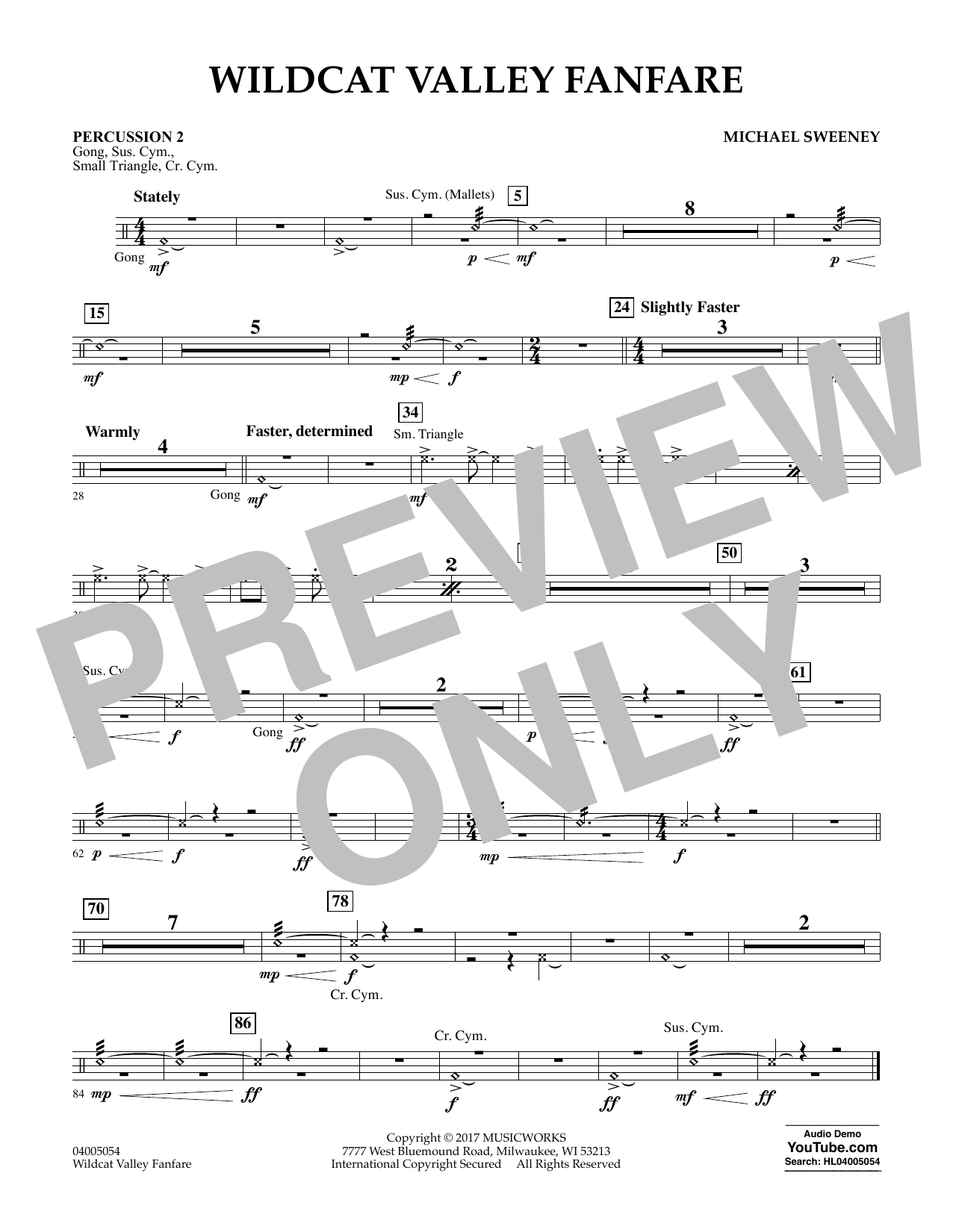 Wildcat Valley Fanfare - Percussion 2 Sheet Music