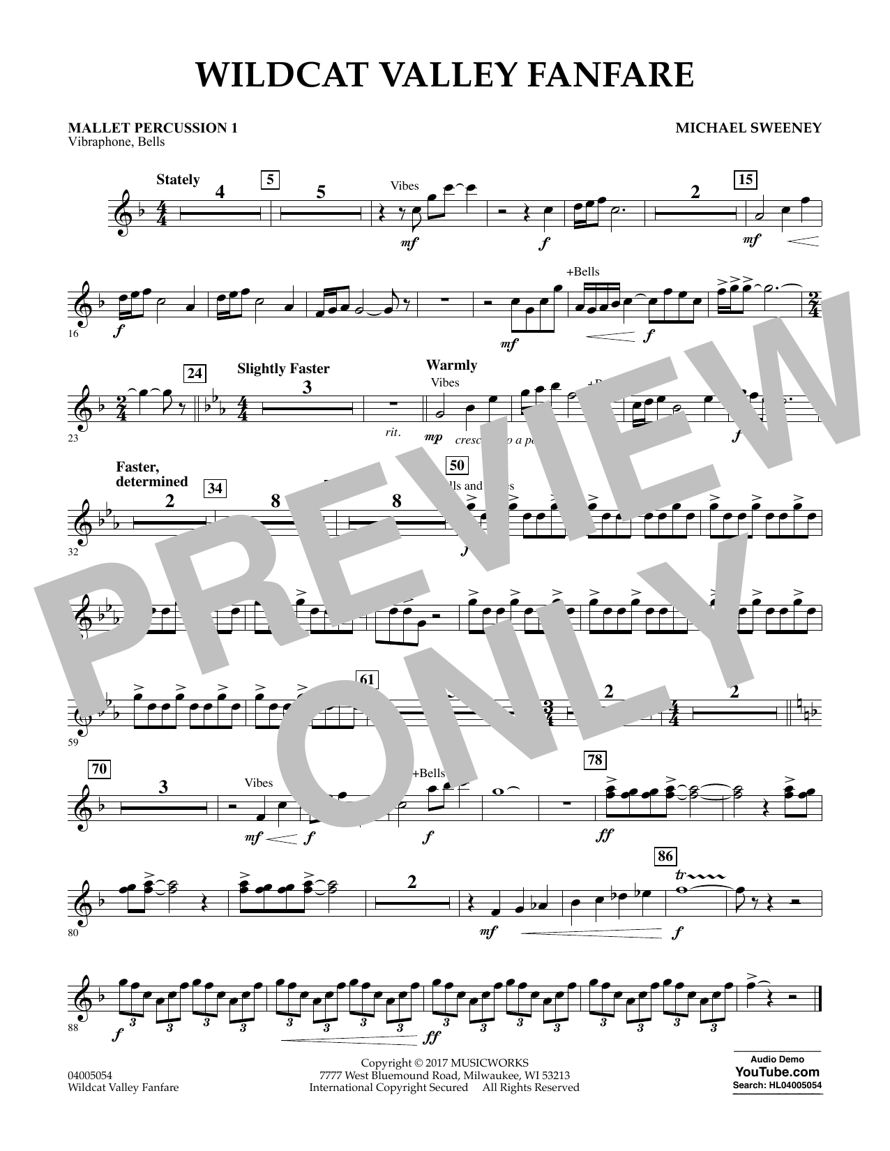 Wildcat Valley Fanfare - Mallet Percussion 1 Digitale Noten
