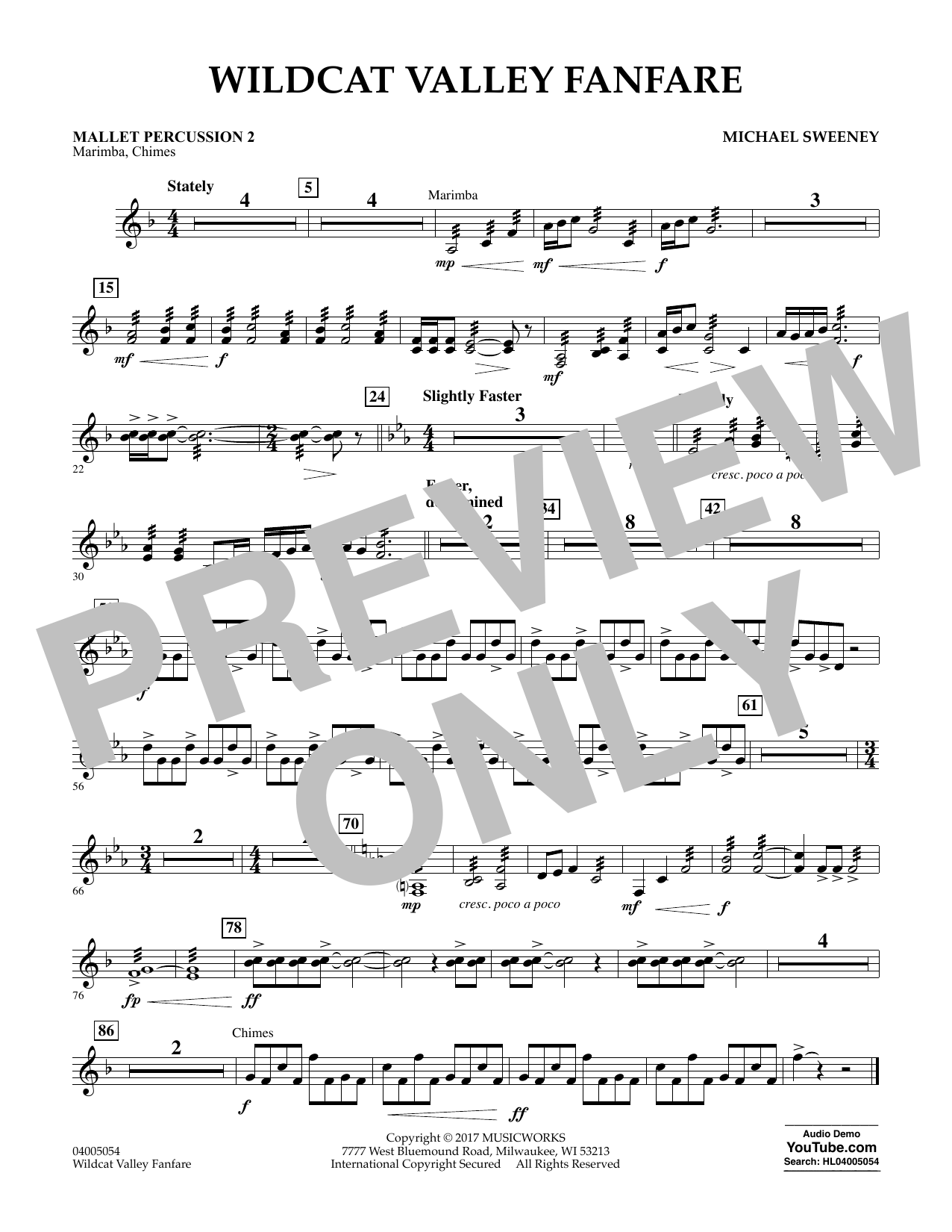 Wildcat Valley Fanfare - Mallet Percussion 2 Sheet Music