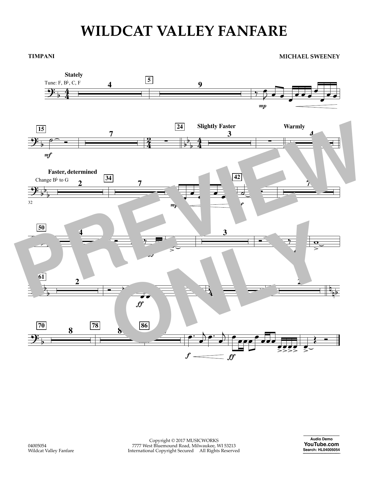 Wildcat Valley Fanfare - Timpani Sheet Music