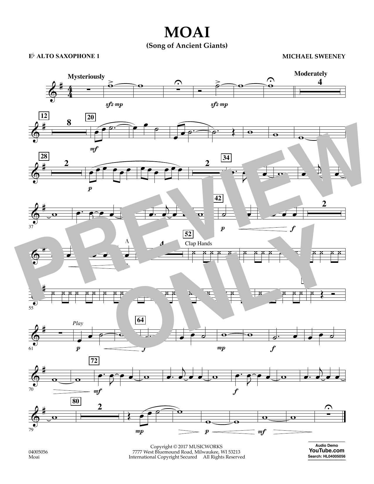 Moai (Songs of Ancient Giants) - Eb Alto Saxophone 1 by Michael Sweeney  Concert Band Digital Sheet Music